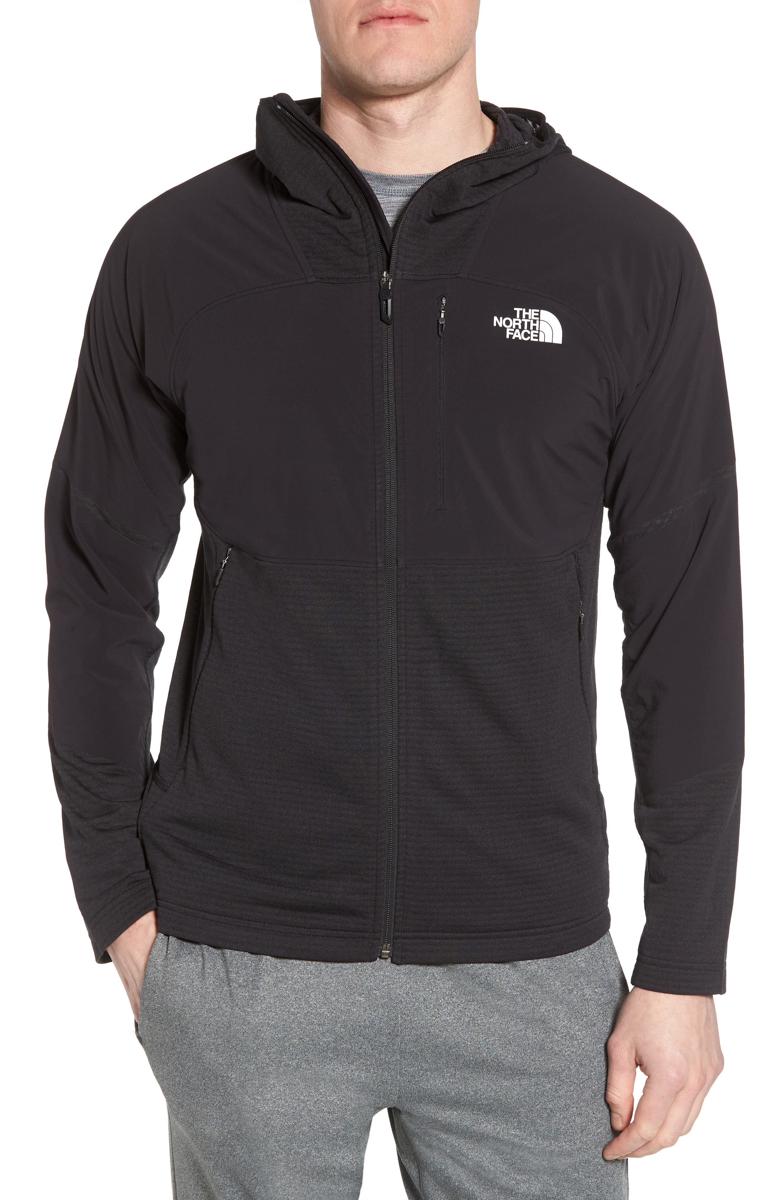 Progressor Power Grid<sup>™</sup> Hooded Fleece Jacket,                             Main thumbnail 1, color,                             Black/ Black