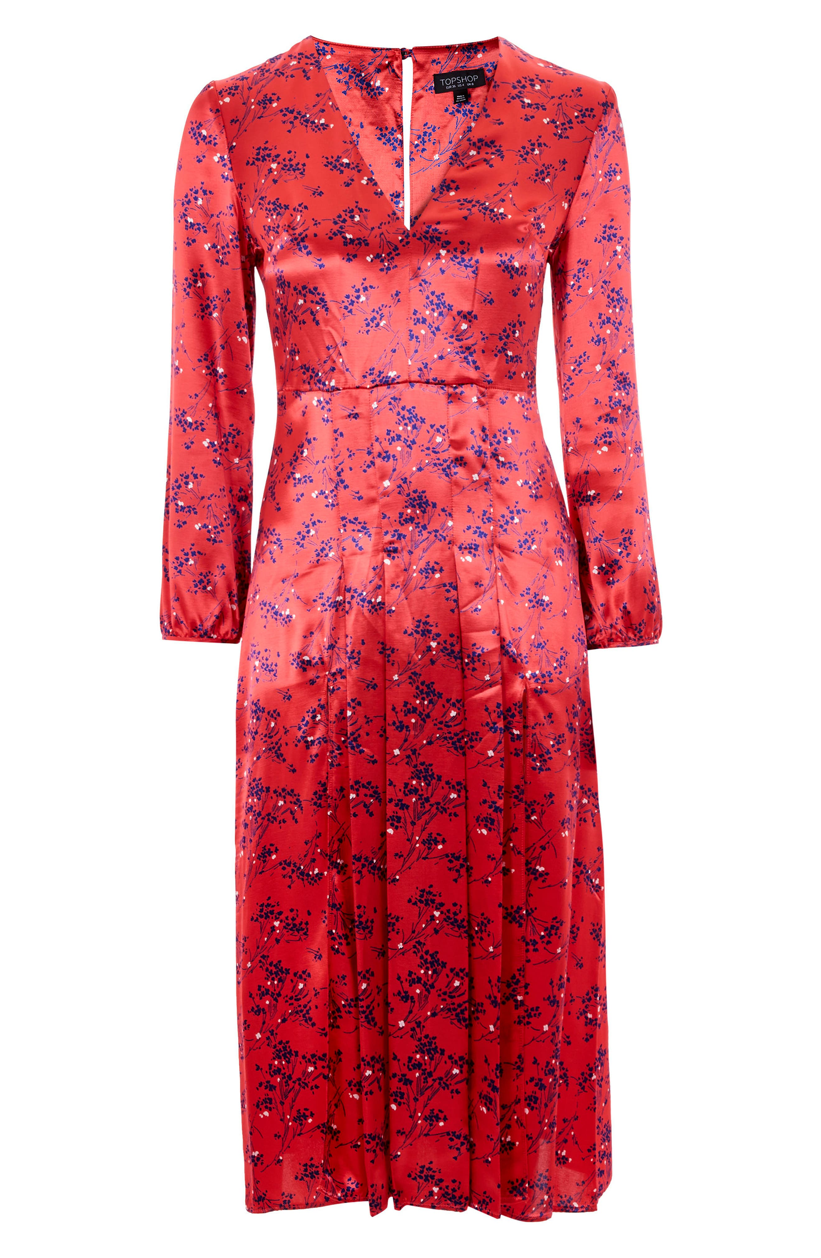 Wispy Floral Print Midi Dress,                             Alternate thumbnail 4, color,                             Red