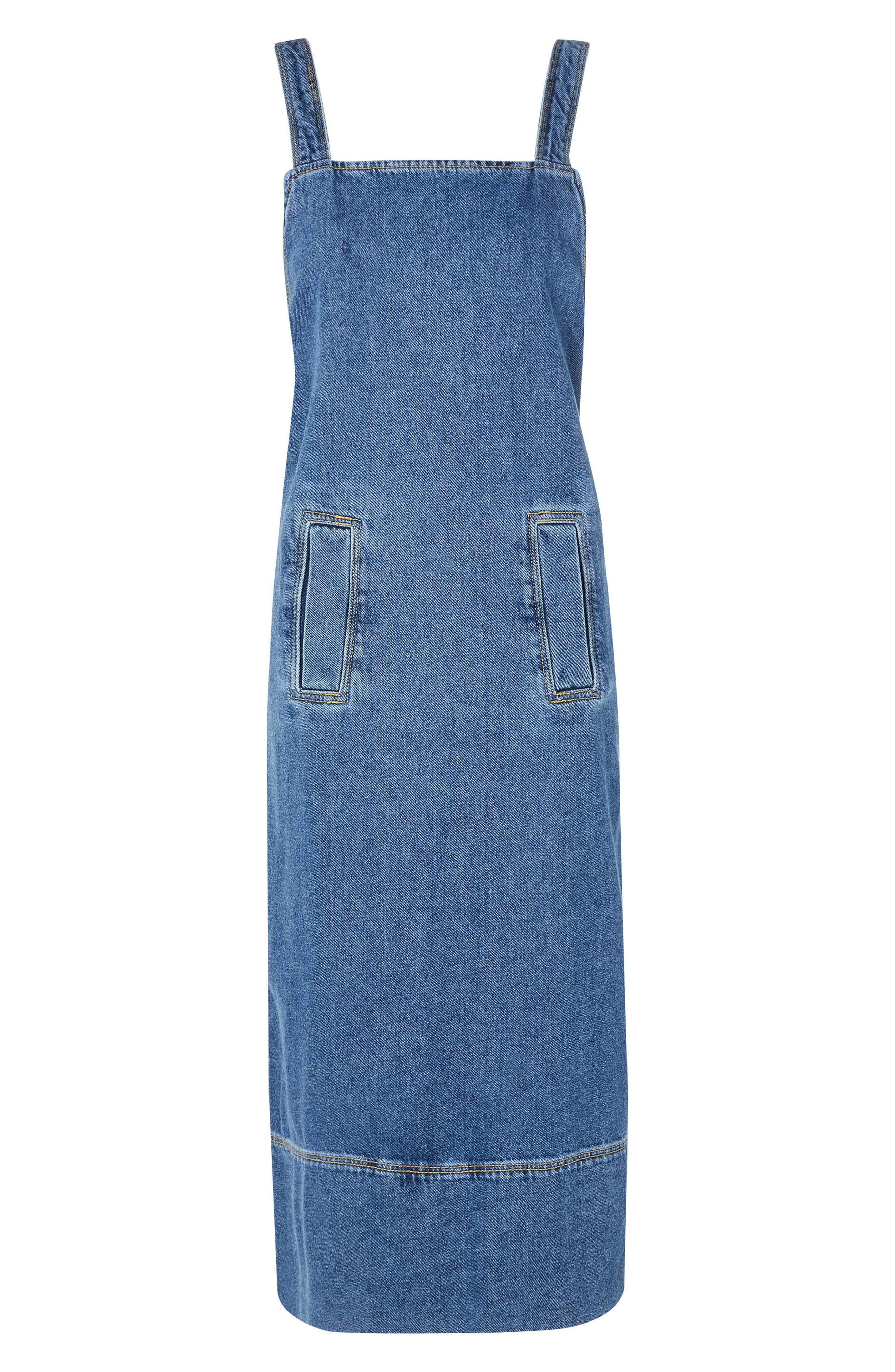 Denim Pinafore Wrap Dress,                         Main,                         color, Blue