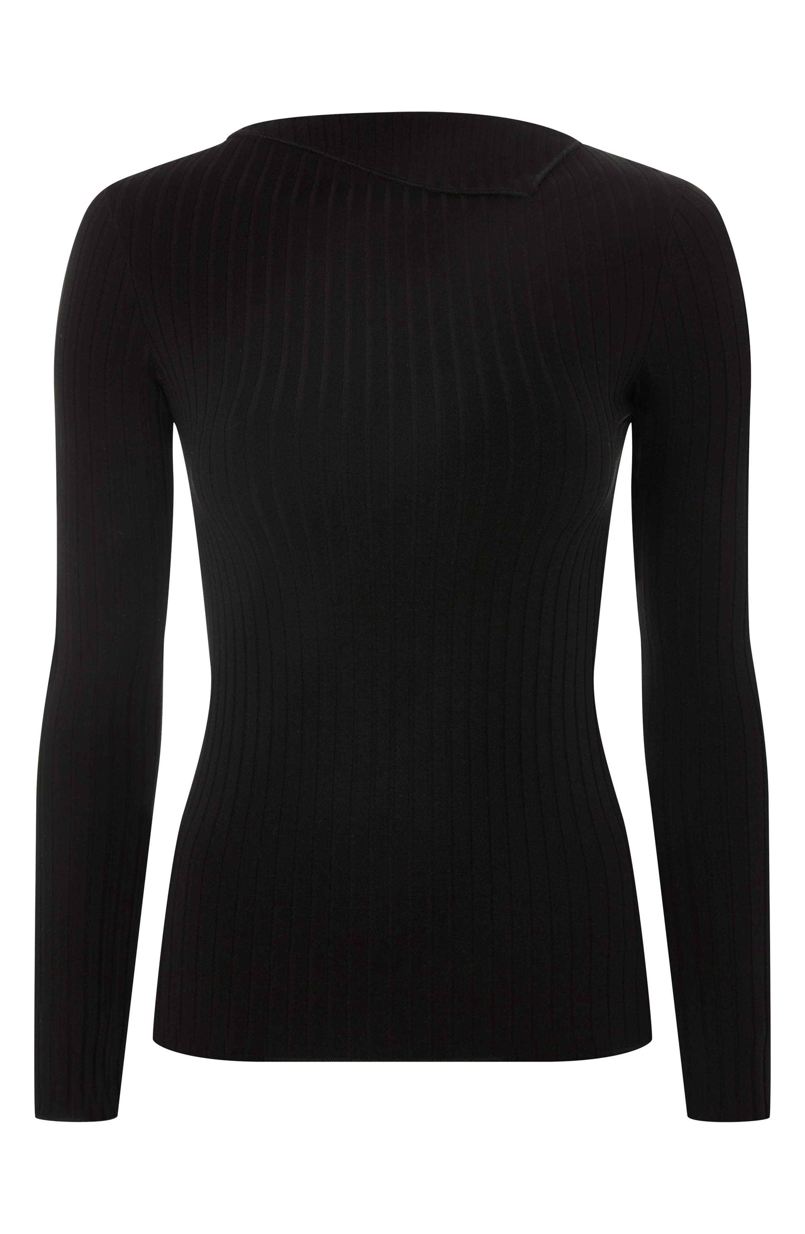 Fold Neck Rib Shirt,                             Alternate thumbnail 6, color,                             Black