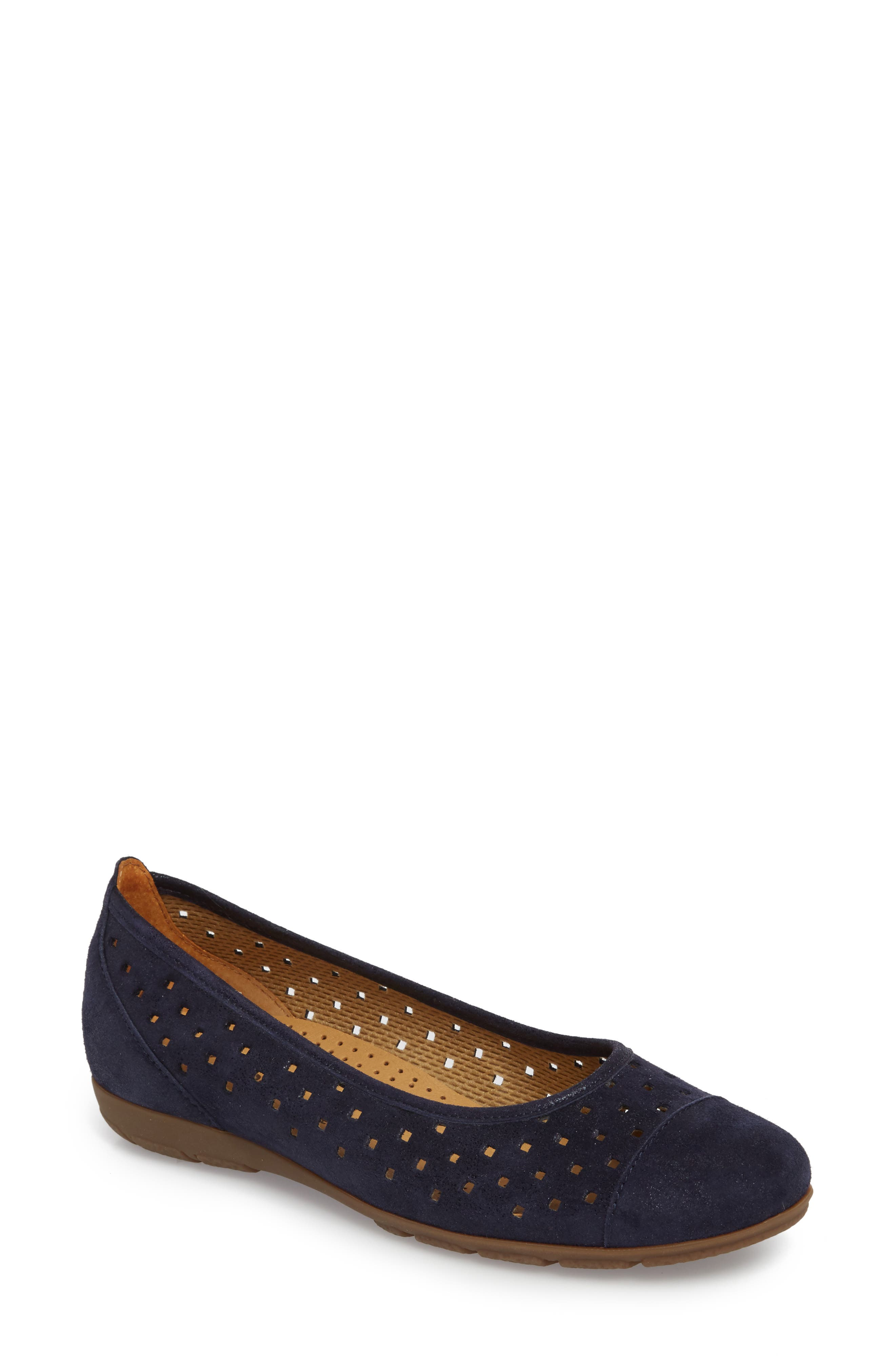 Perforated Ballet Flat,                             Main thumbnail 1, color,                             Blue Metallic Leather