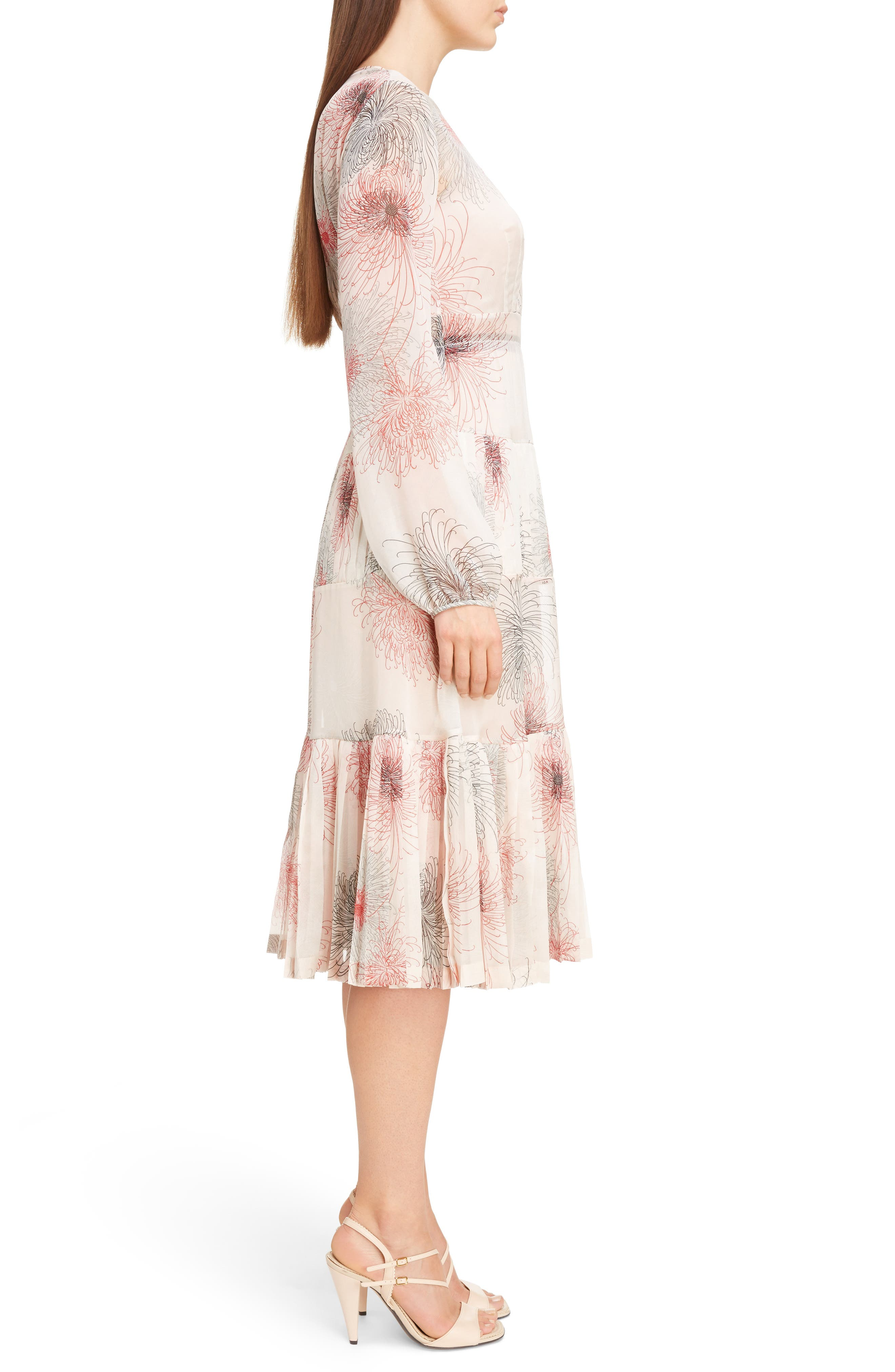 Nº21 Floral Print Tiered Silk Dress,                             Alternate thumbnail 3, color,                             Pink