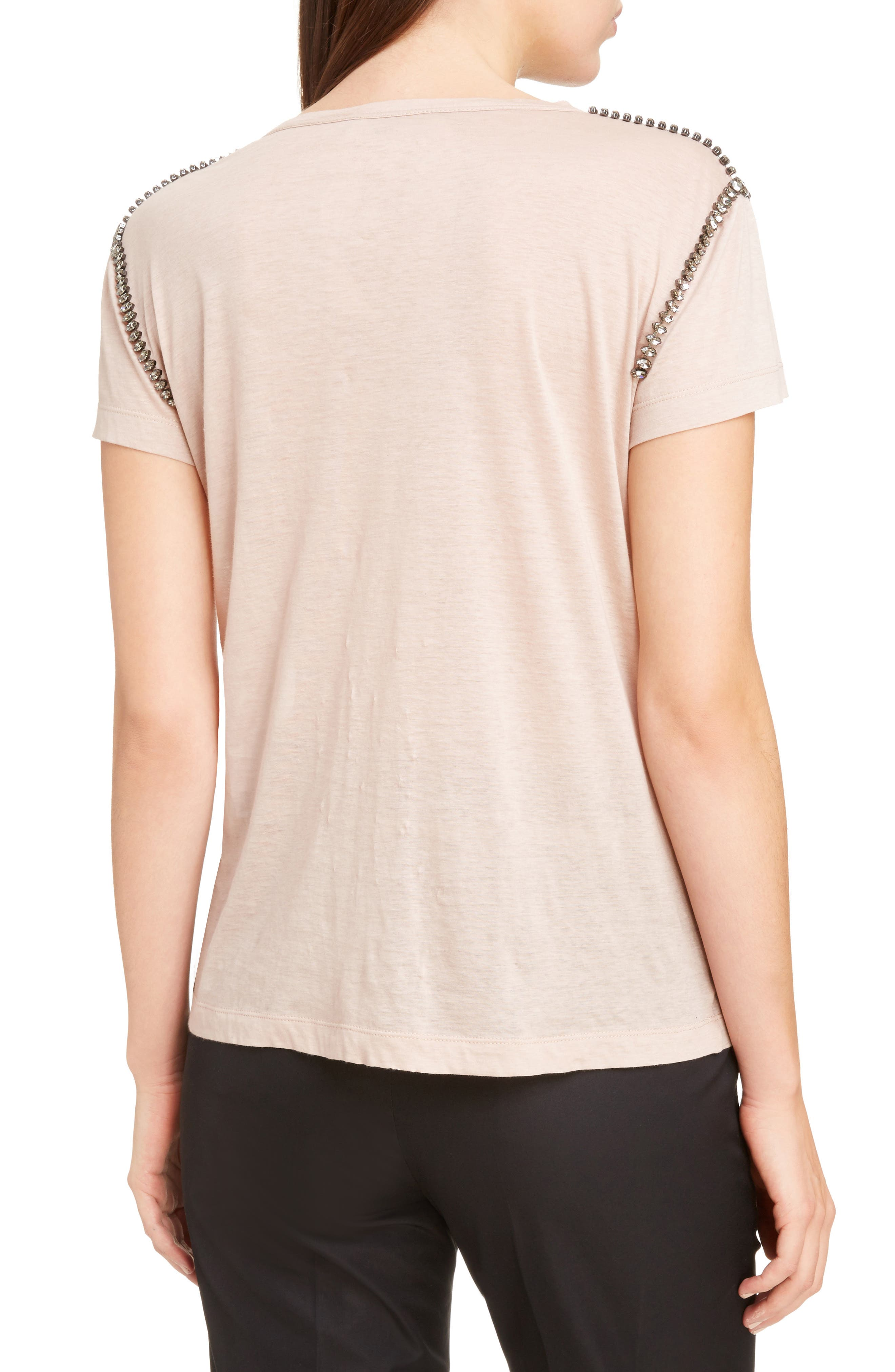 Crystal Embellished Tee,                             Alternate thumbnail 2, color,                             Cipria