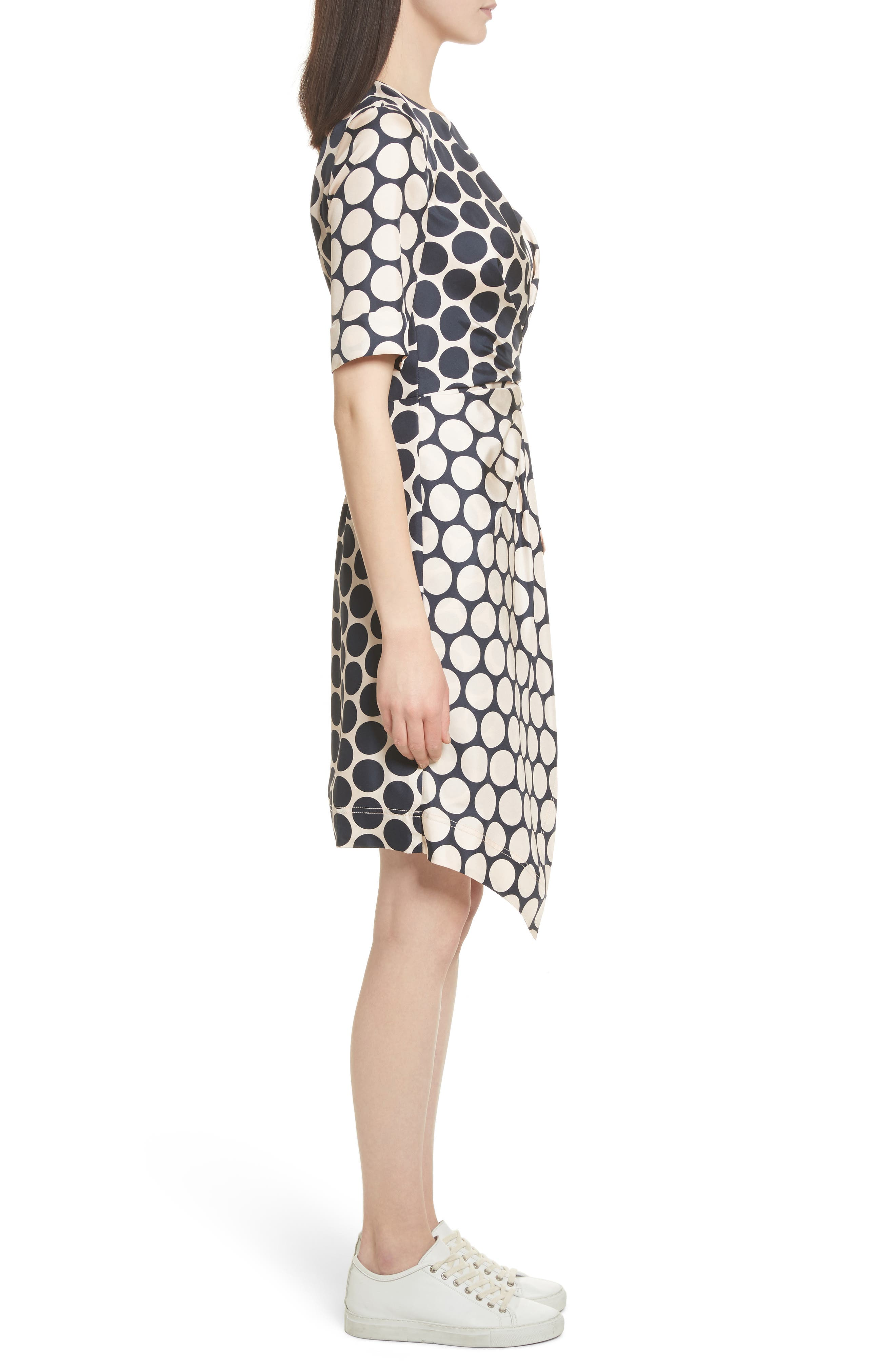 Polka Dot Silk Dress,                             Alternate thumbnail 3, color,                             Shell Combo