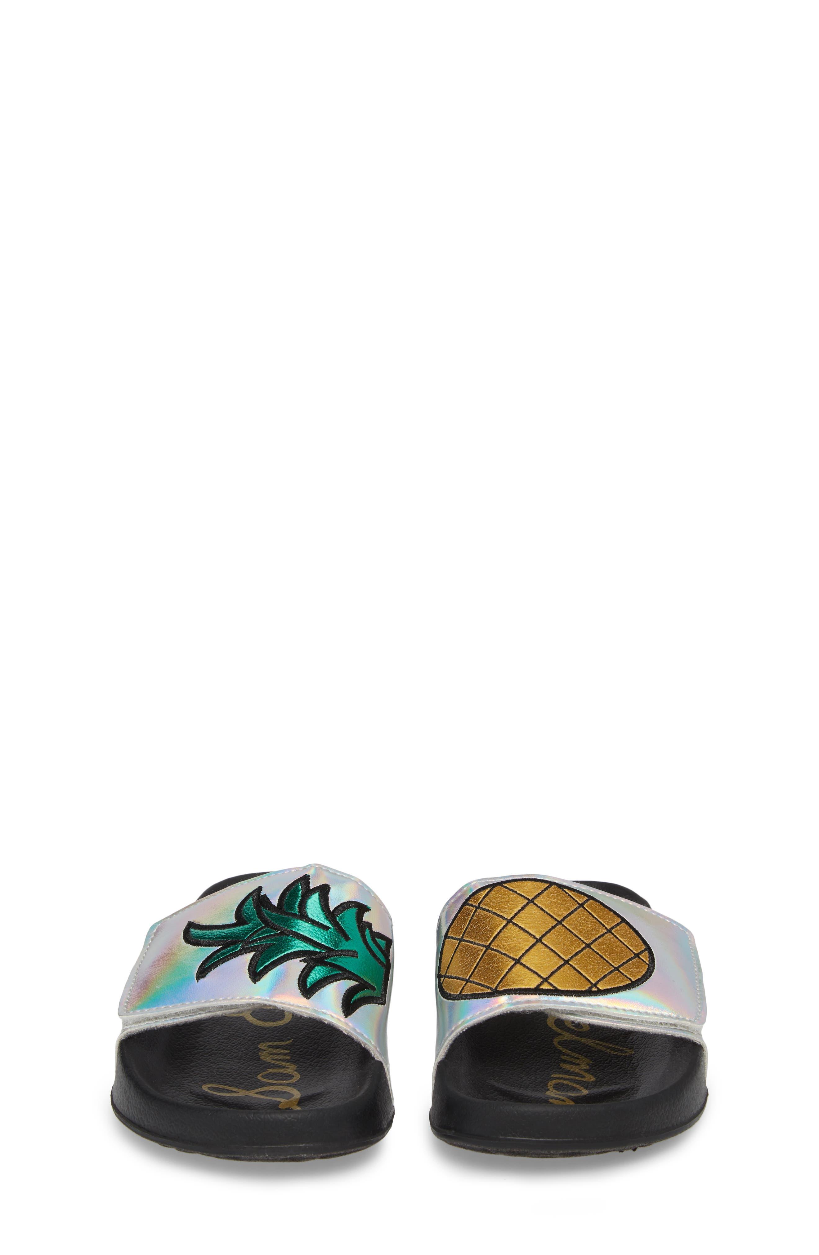 Mackie Pineapple Metallic Slide Sandal,                             Alternate thumbnail 5, color,                             Silver Holographic Leather