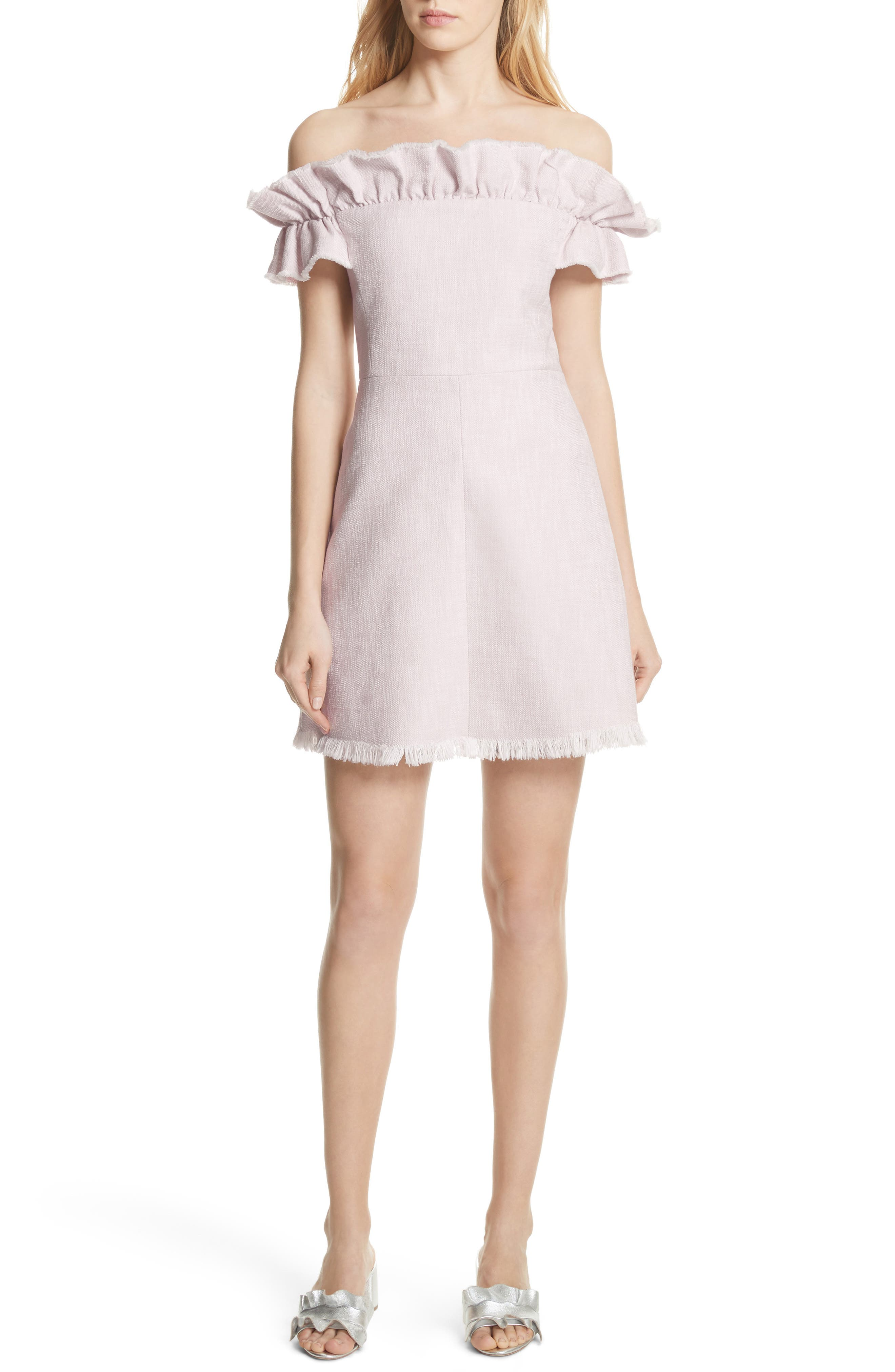 Off the Shoulder Ruffle Dress,                             Main thumbnail 1, color,                             Orchid