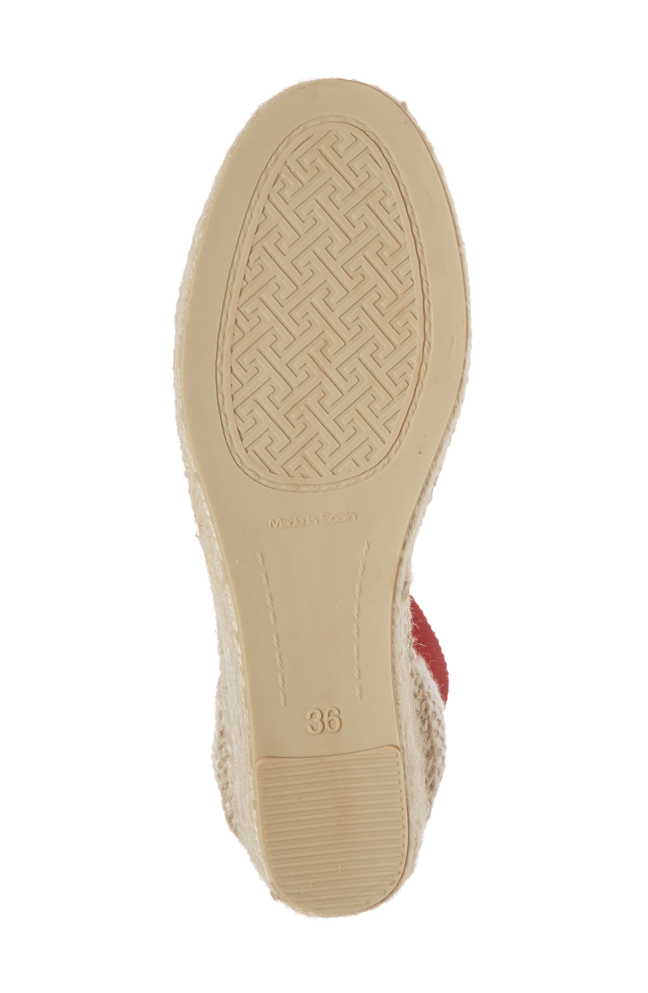 Valencia Wraparound Espadrille Wedge,                             Alternate thumbnail 6, color,                             Red Fabric