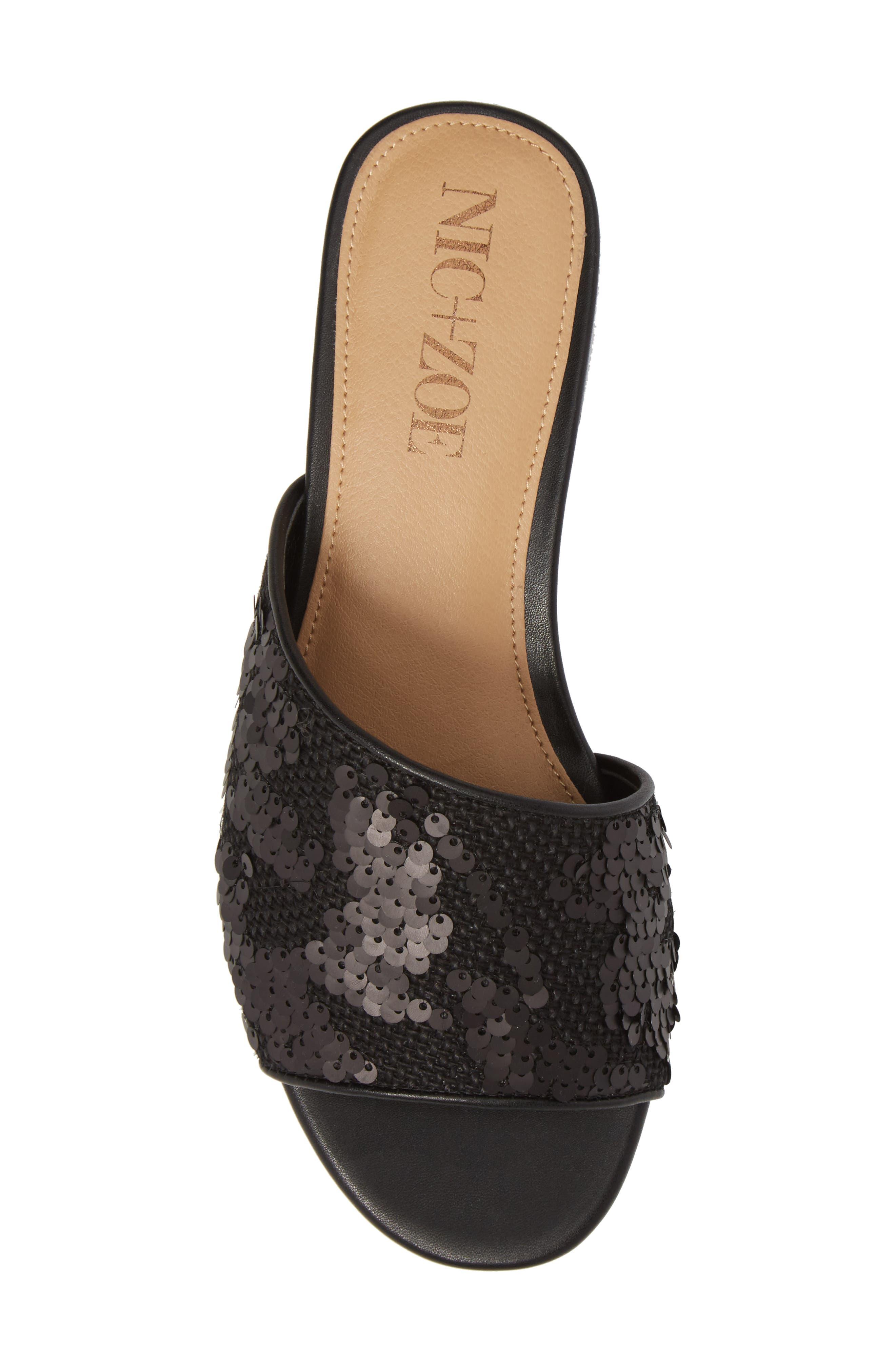 Stella Slide Sandal,                             Alternate thumbnail 5, color,                             Black Sequin Fabric