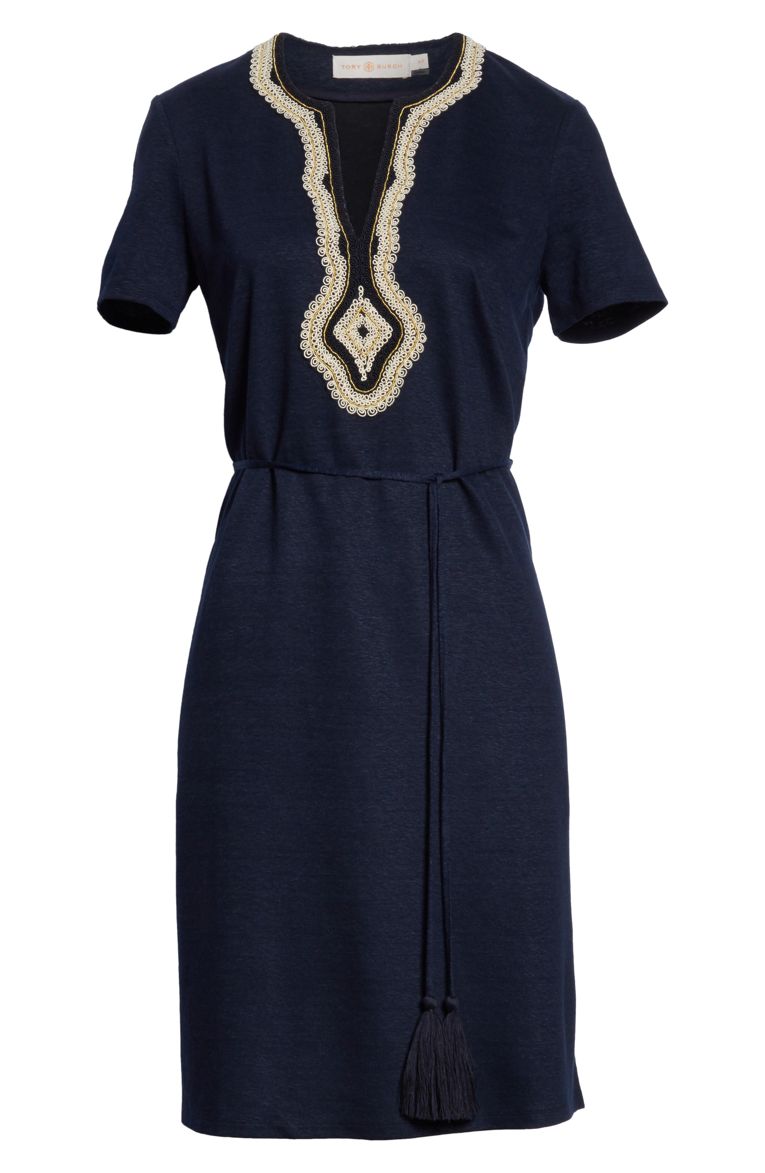 Embroidered Knit Dress,                             Alternate thumbnail 6, color,                             Tory Navy