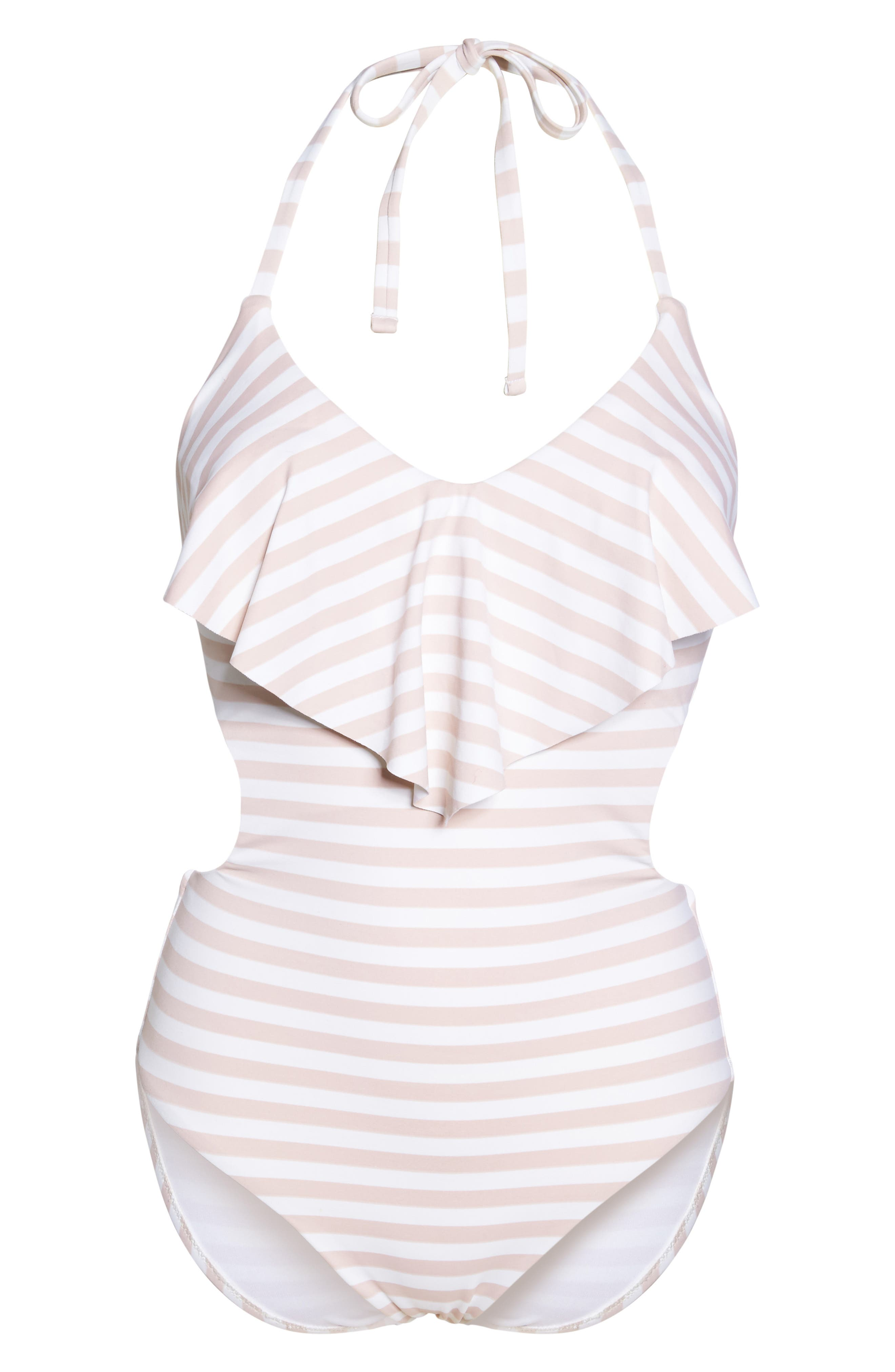 Ruffle One-Piece Swimsuit,                             Alternate thumbnail 6, color,                             Pink Dust Stripe