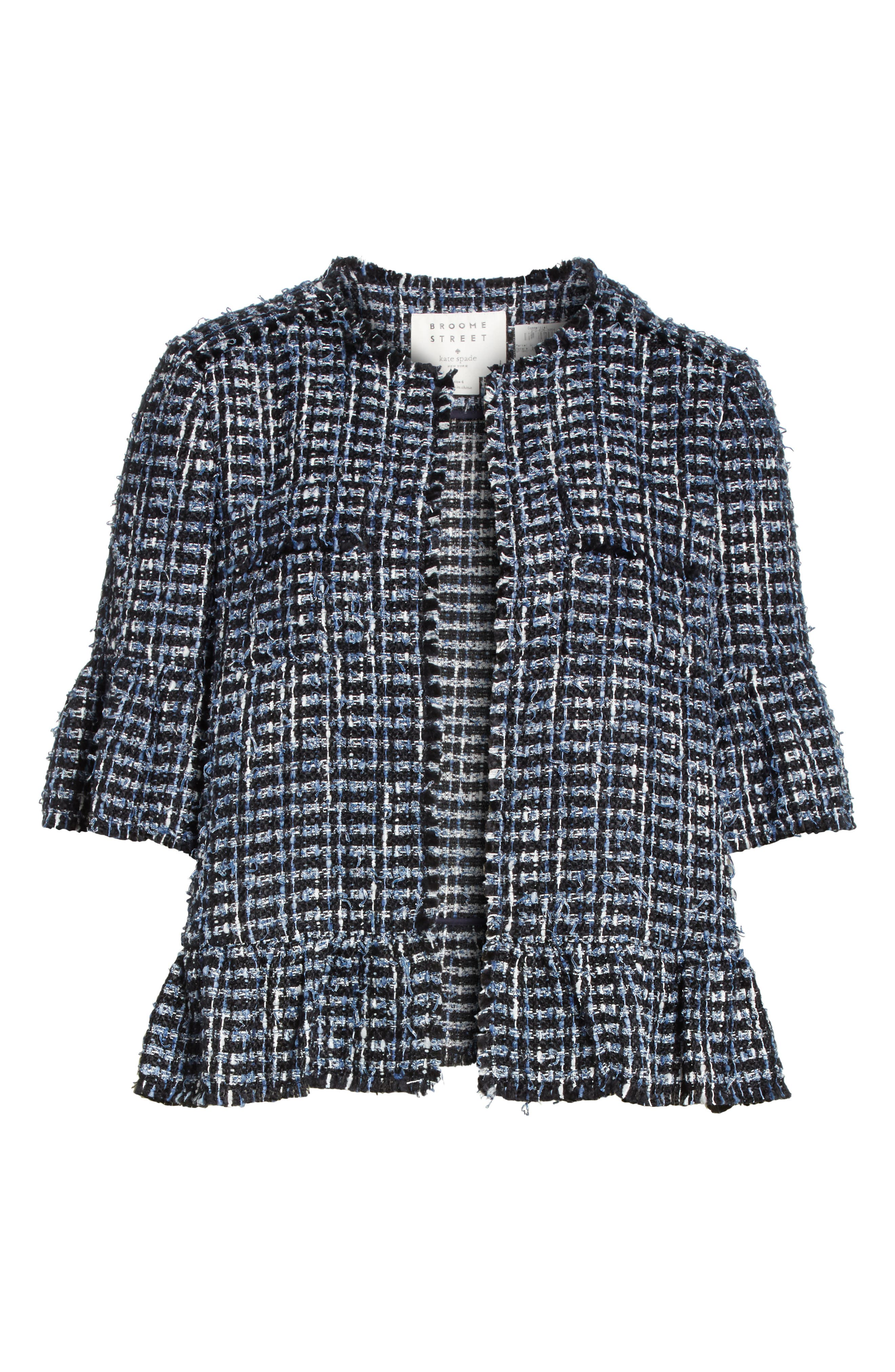 flounced sleeve tweed jacket,                             Alternate thumbnail 6, color,                             Blue Combo