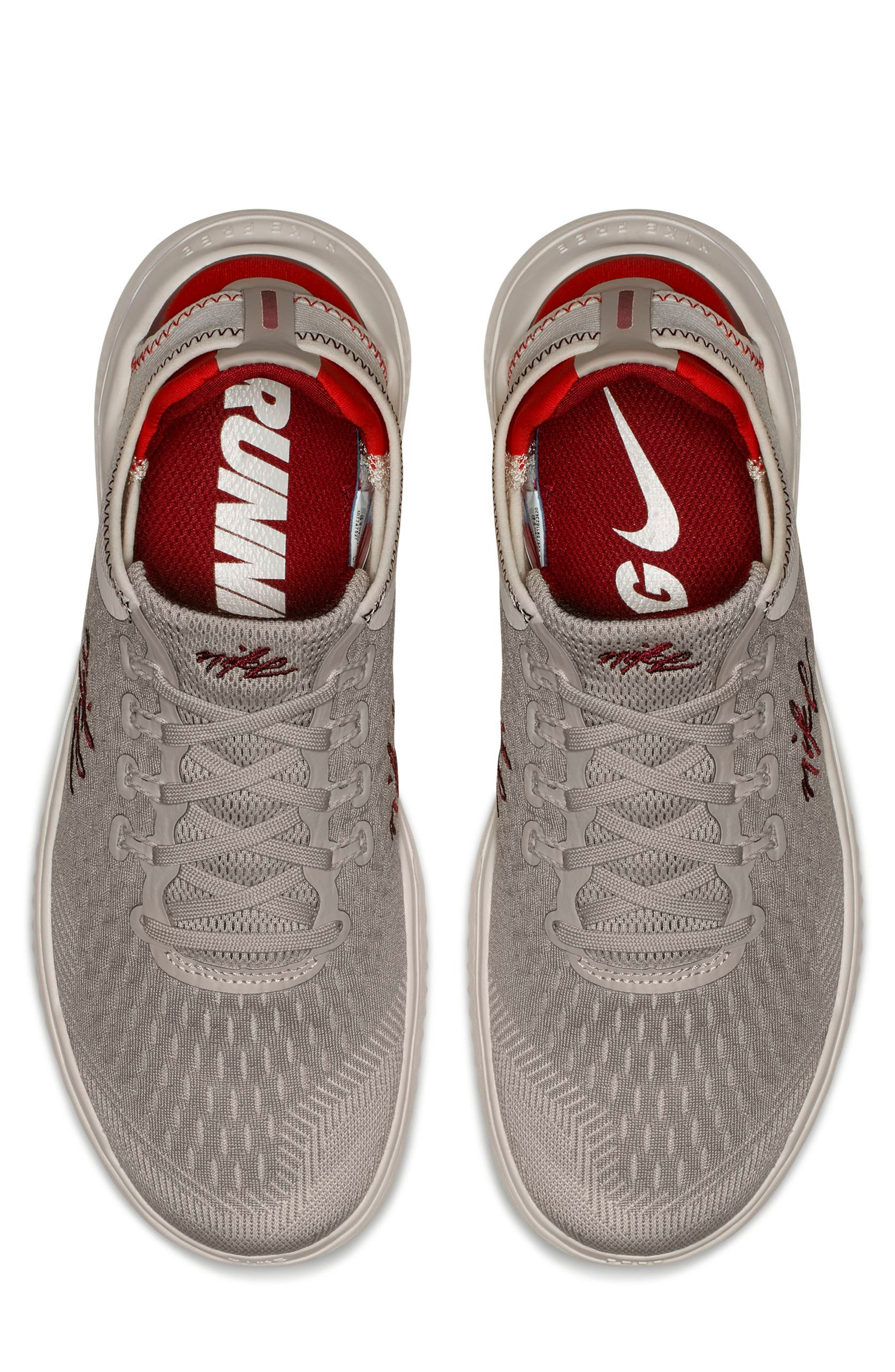 Free RN 2018 Running Shoe,                             Alternate thumbnail 4, color,                             Moon Particle/ Team Red