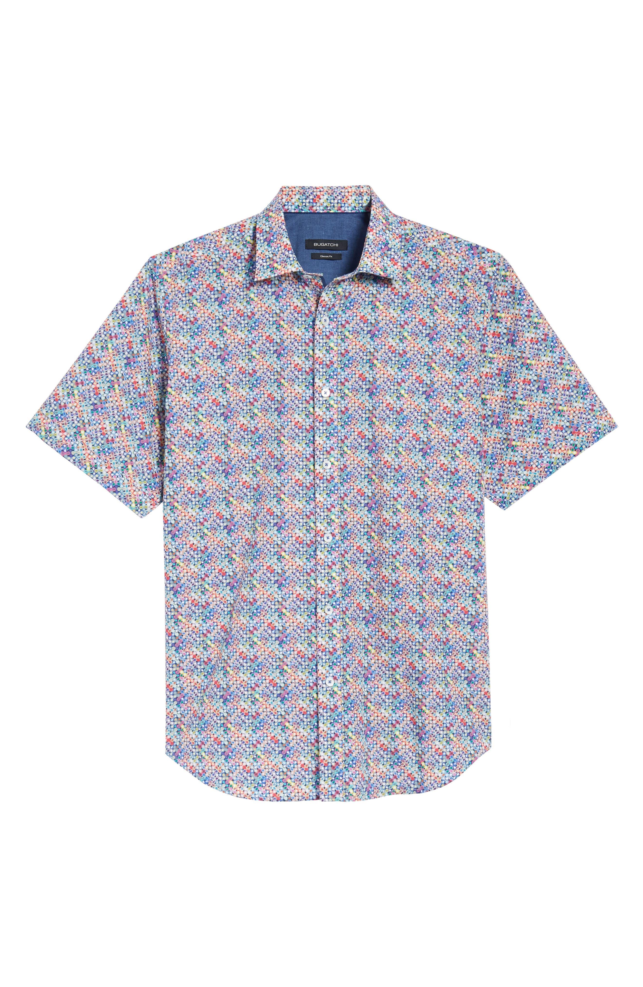 Classic Fit Flashy Fireballs Sport Shirt,                             Alternate thumbnail 6, color,                             Periwinkle