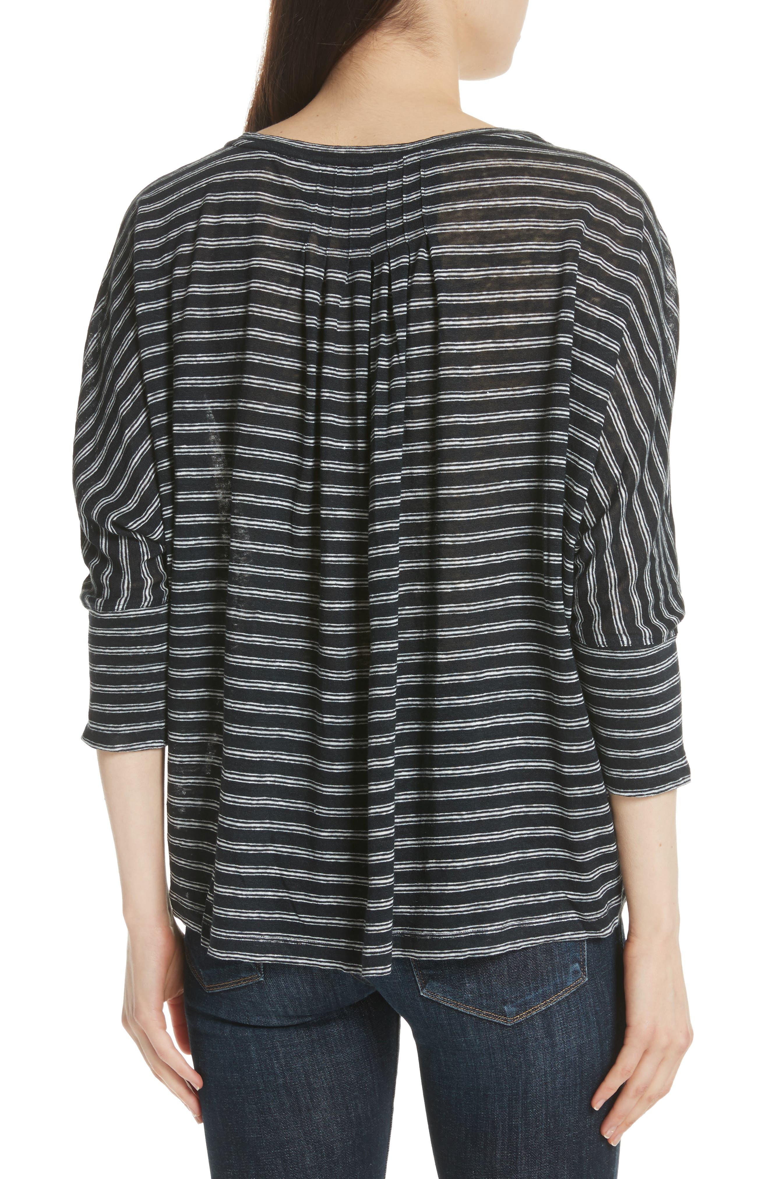 Stripe Linen Knit Top,                             Alternate thumbnail 2, color,                             Caviar/ Porcelain