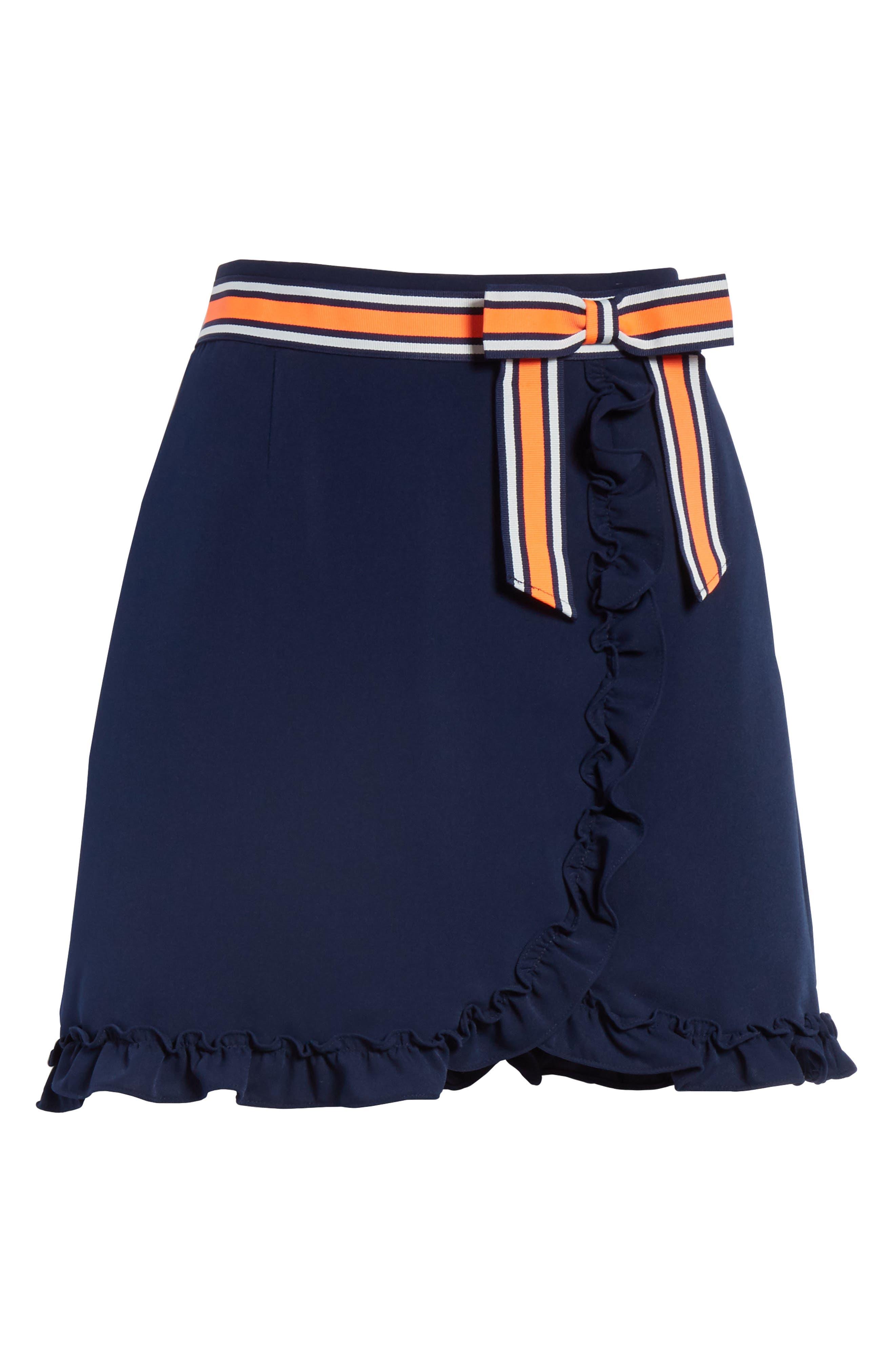 Xzenia Bow Miniskirt,                             Alternate thumbnail 6, color,                             Navy