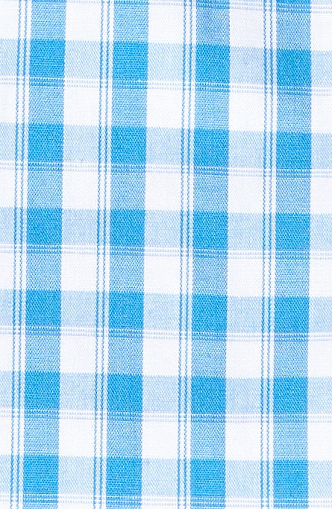 Tech-Smart Trim Fit Check Sport Shirt,                             Alternate thumbnail 5, color,                             Blue Camp White Gingham