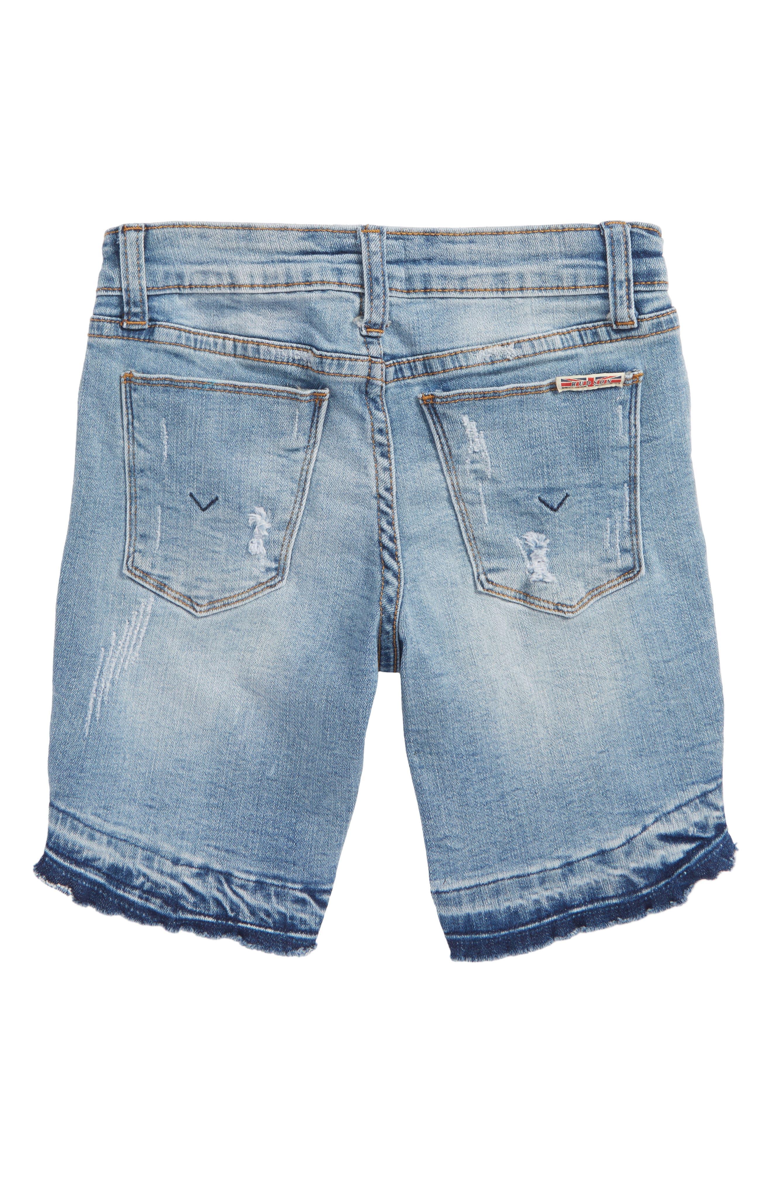 Release Hem Distressed Denim Shorts,                             Alternate thumbnail 2, color,                             Cali Blue