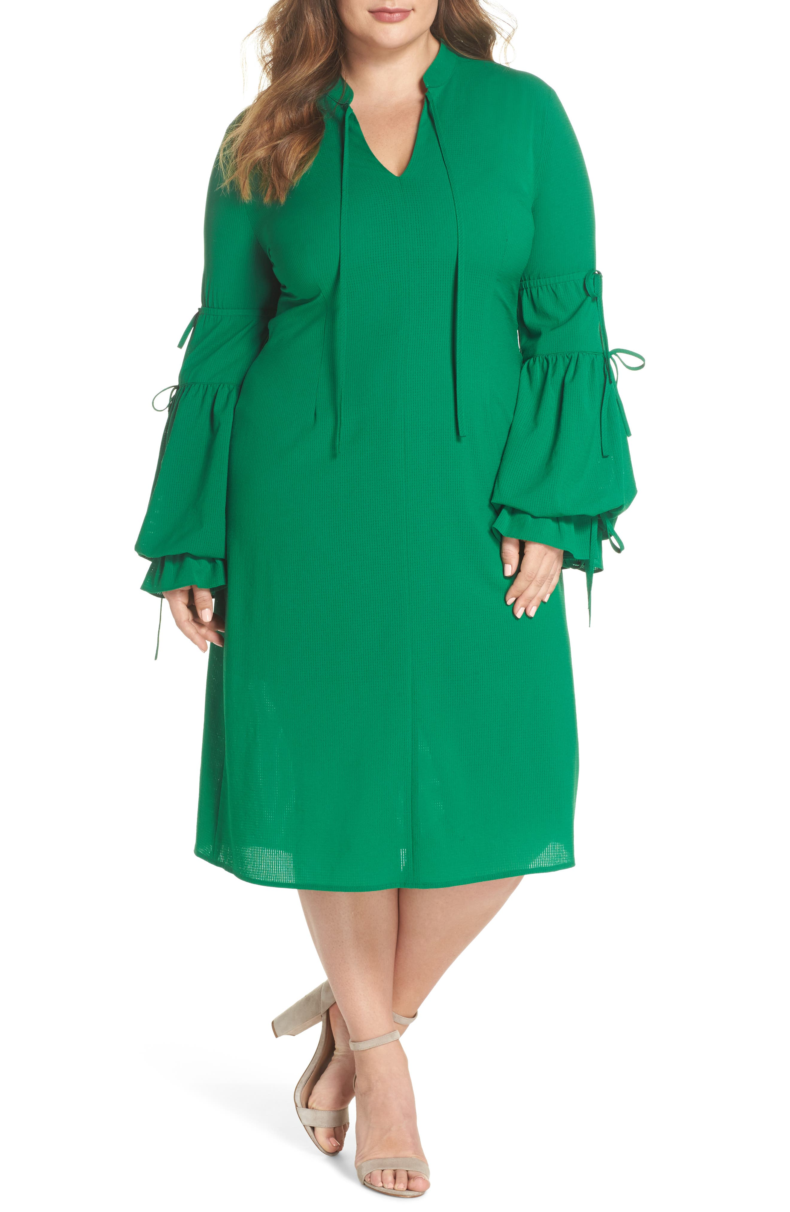 Leiko Antoinette Puff Sleeve Tea Dress,                             Main thumbnail 1, color,                             Green