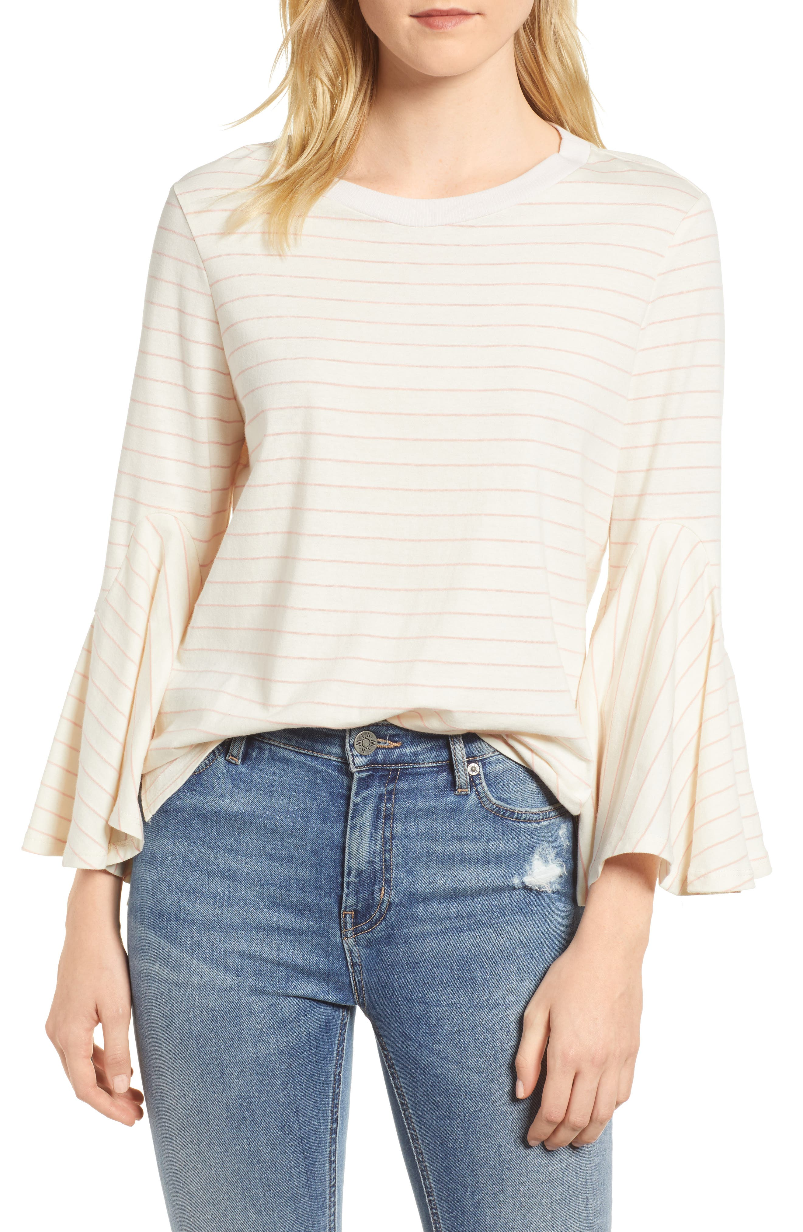 Stripe Bell Sleeve Top,                         Main,                         color, Pink Ivory Even Stripe