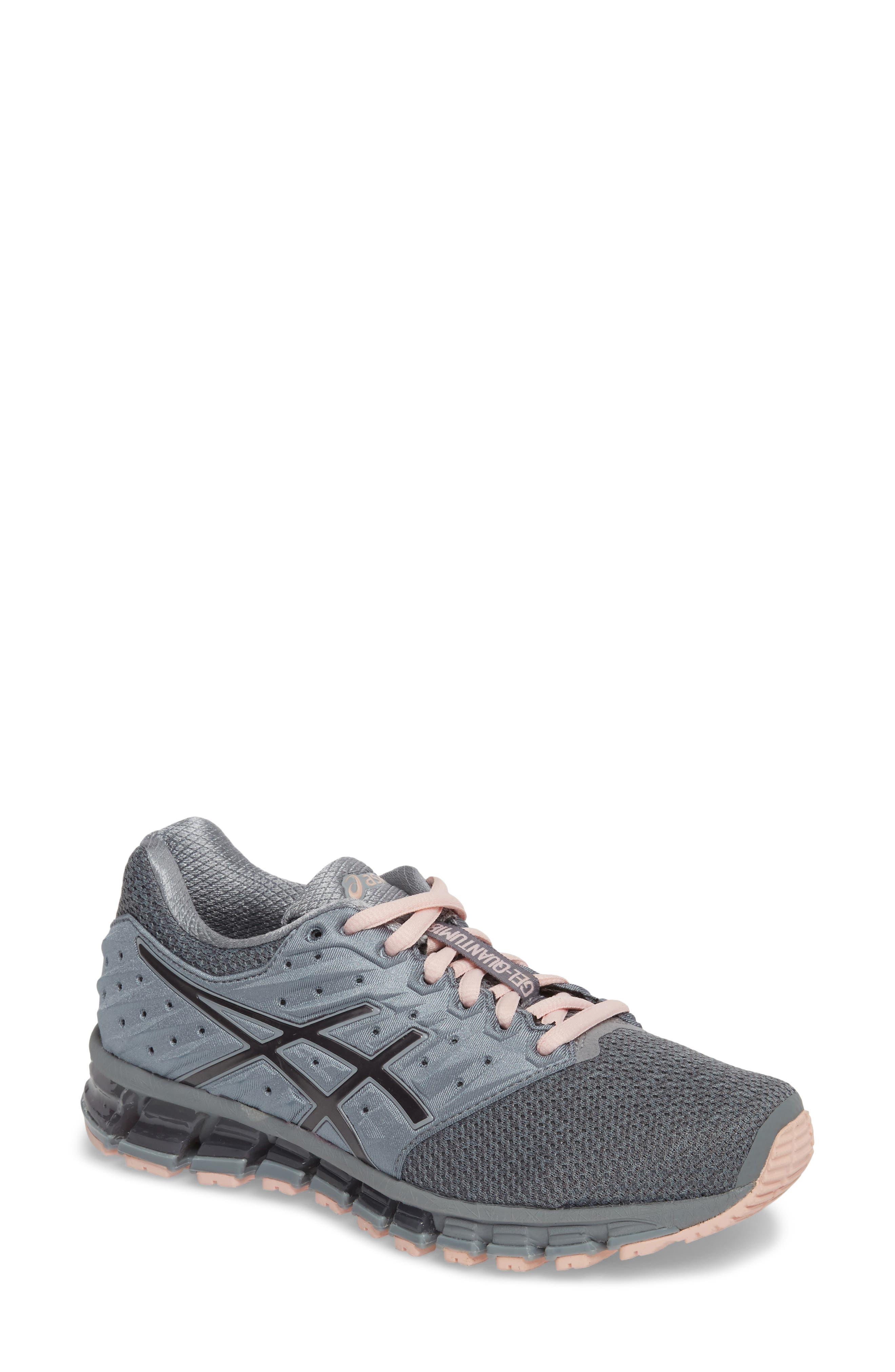 'GEL-Quantum 180 2' Running Shoe,                         Main,                         color, Stone Grey/ Carbon/ Pink