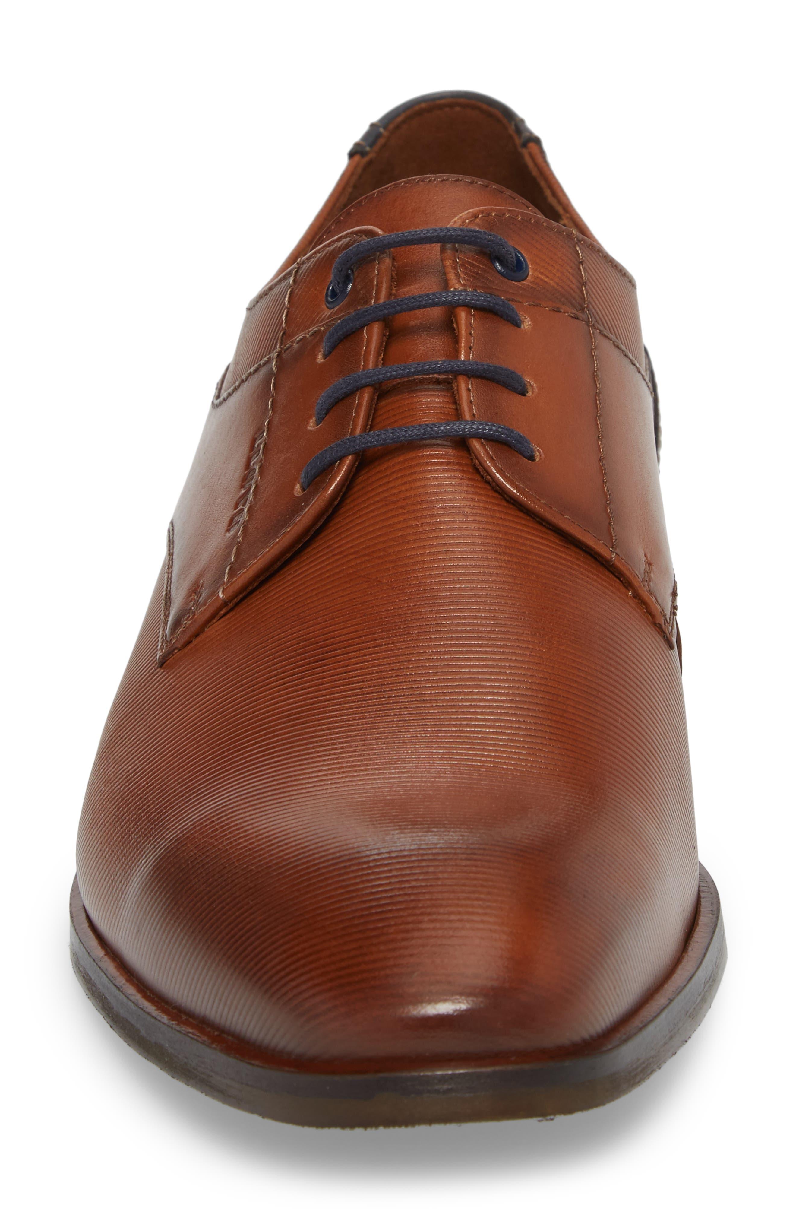 Hamilton Plain Toe Derby,                             Alternate thumbnail 4, color,                             Cognac Leather