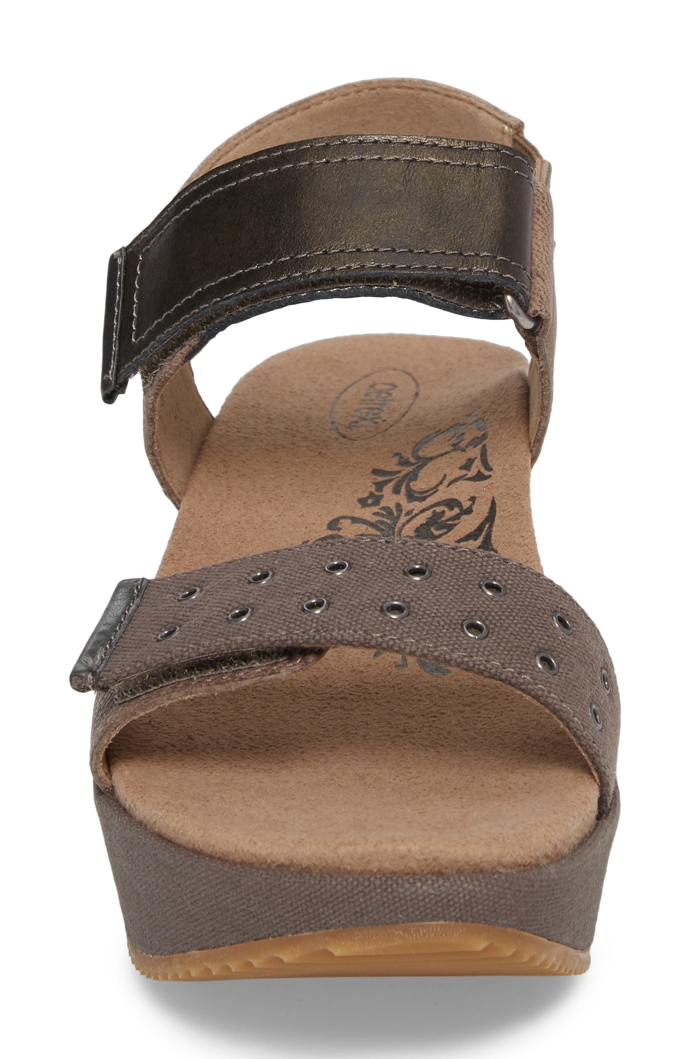 Tiffany Wedge Sandal,                             Alternate thumbnail 4, color,                             Stone Leather