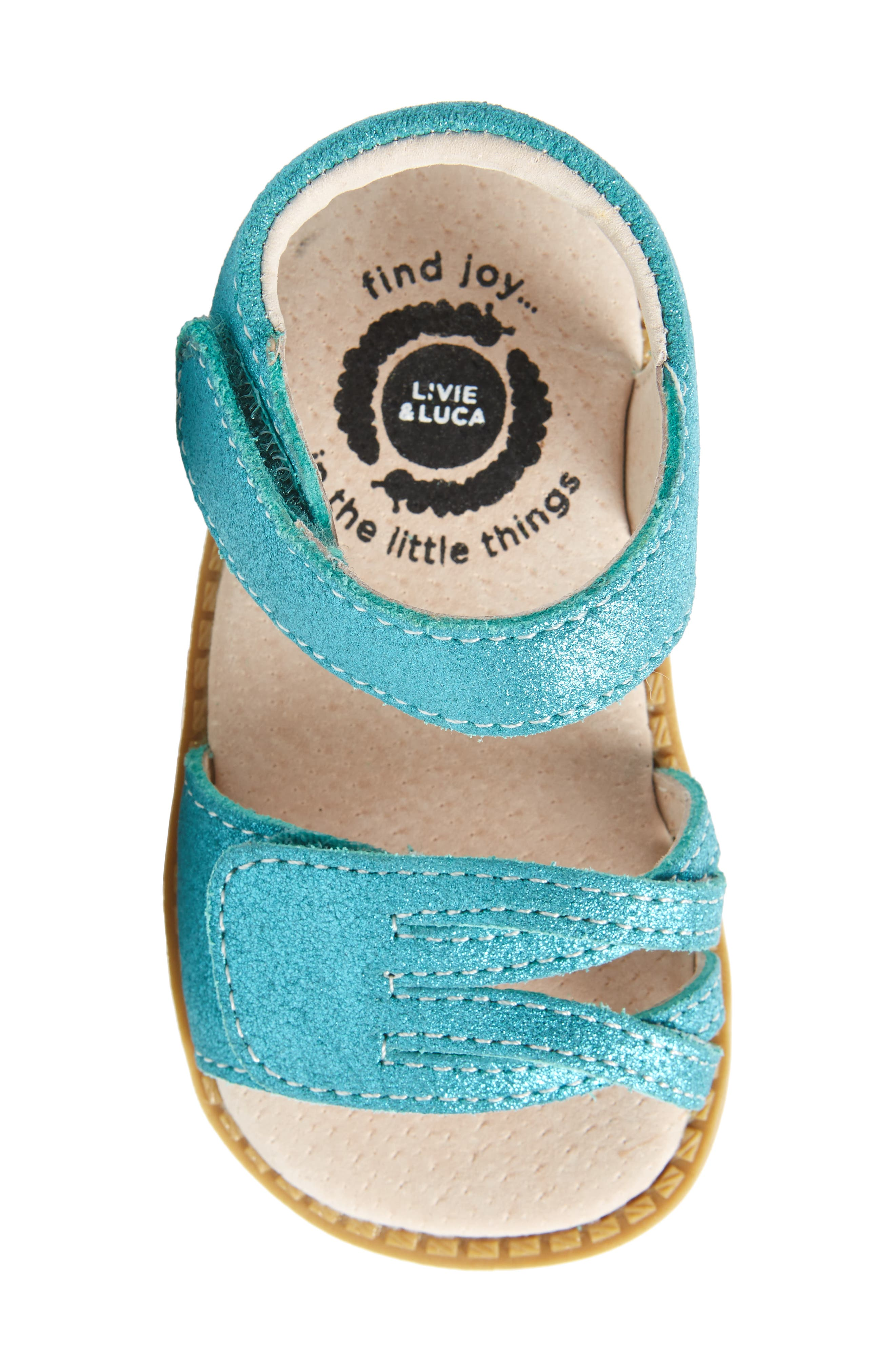 'Athena' Sandal,                             Alternate thumbnail 5, color,                             Aqua Shimmer