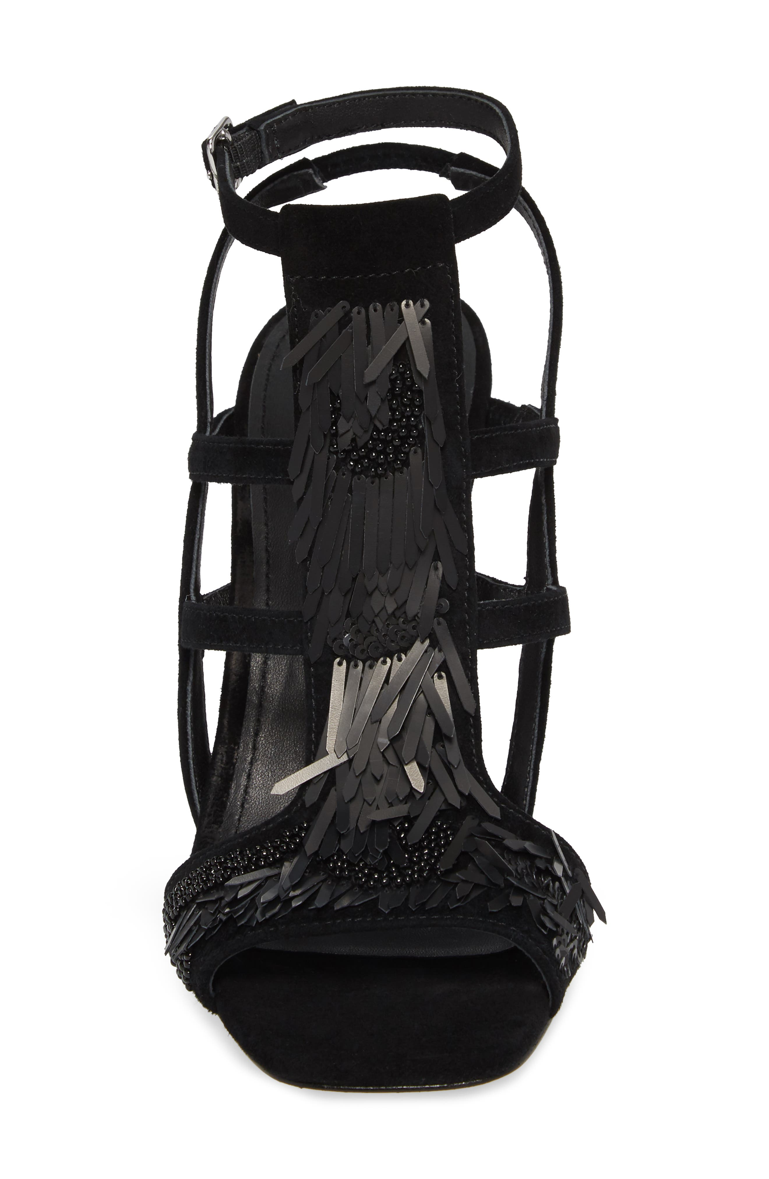 Willow Sandal,                             Alternate thumbnail 4, color,                             Black Sequin Fabric