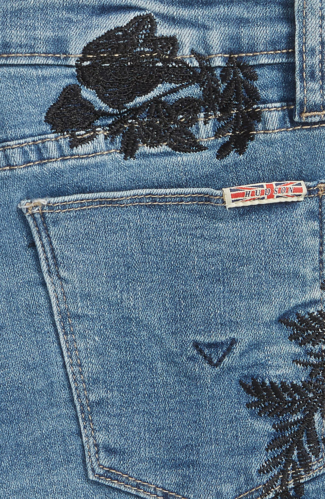 Floral Embroidery Frayed Hem Shorts,                             Alternate thumbnail 3, color,                             Crown Blue