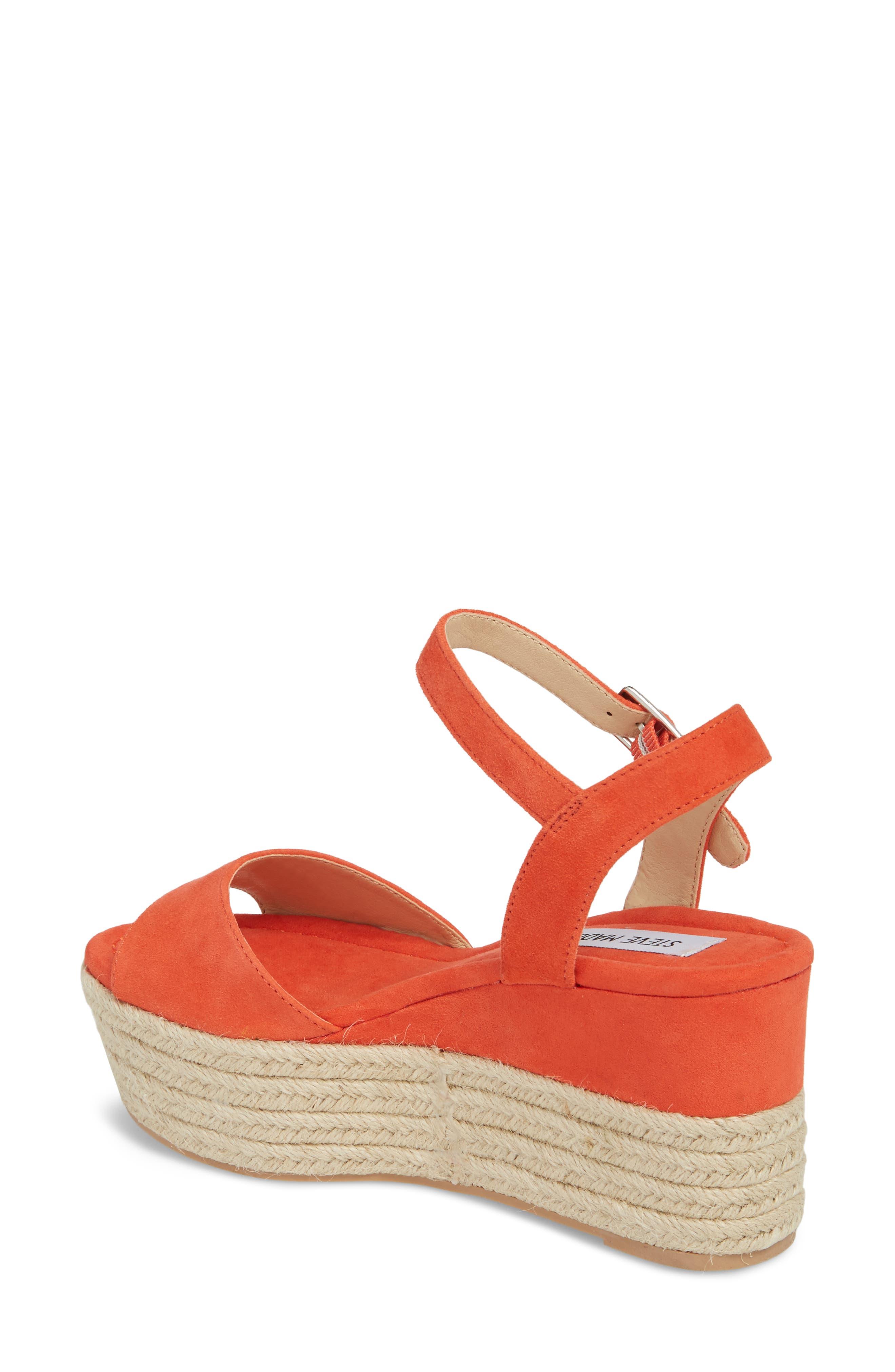 Kianna Espadrille Wedge Sandal,                             Alternate thumbnail 2, color,                             Coral Suede