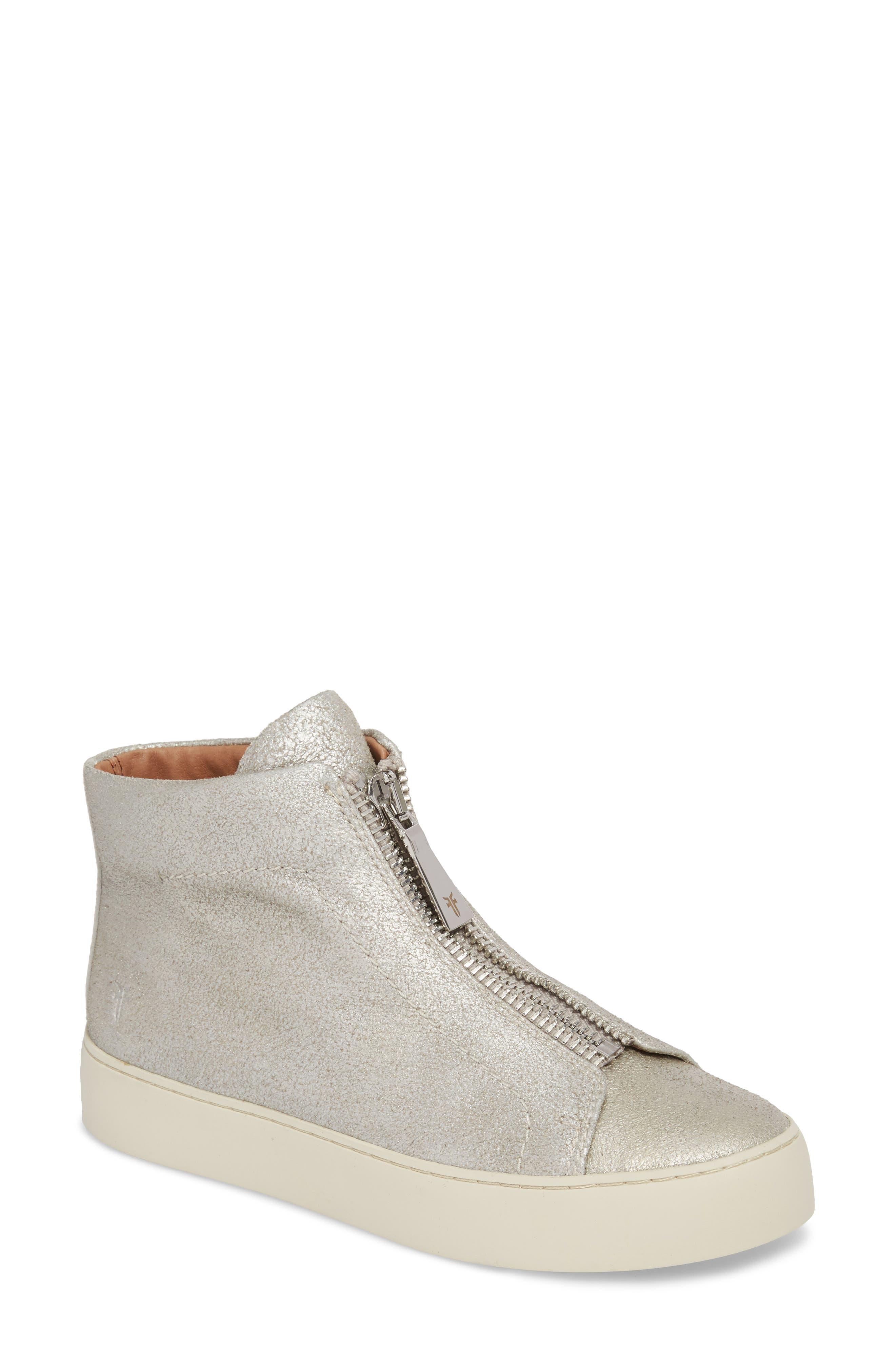 Lena Zip High Top Sneaker,                             Main thumbnail 1, color,                             Silver