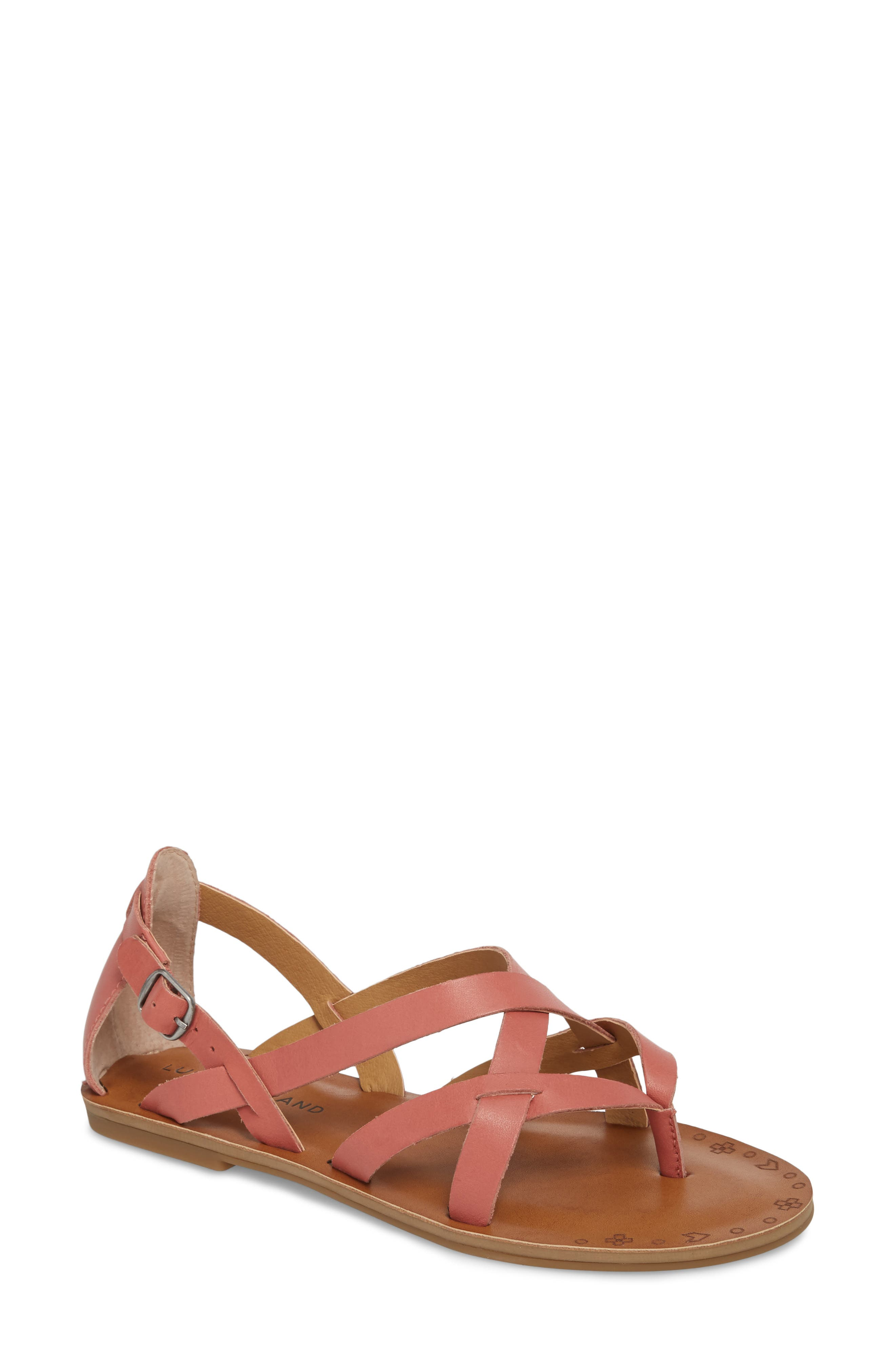 Ainsley Flat Sandal,                         Main,                         color, Canyon Rose Leather