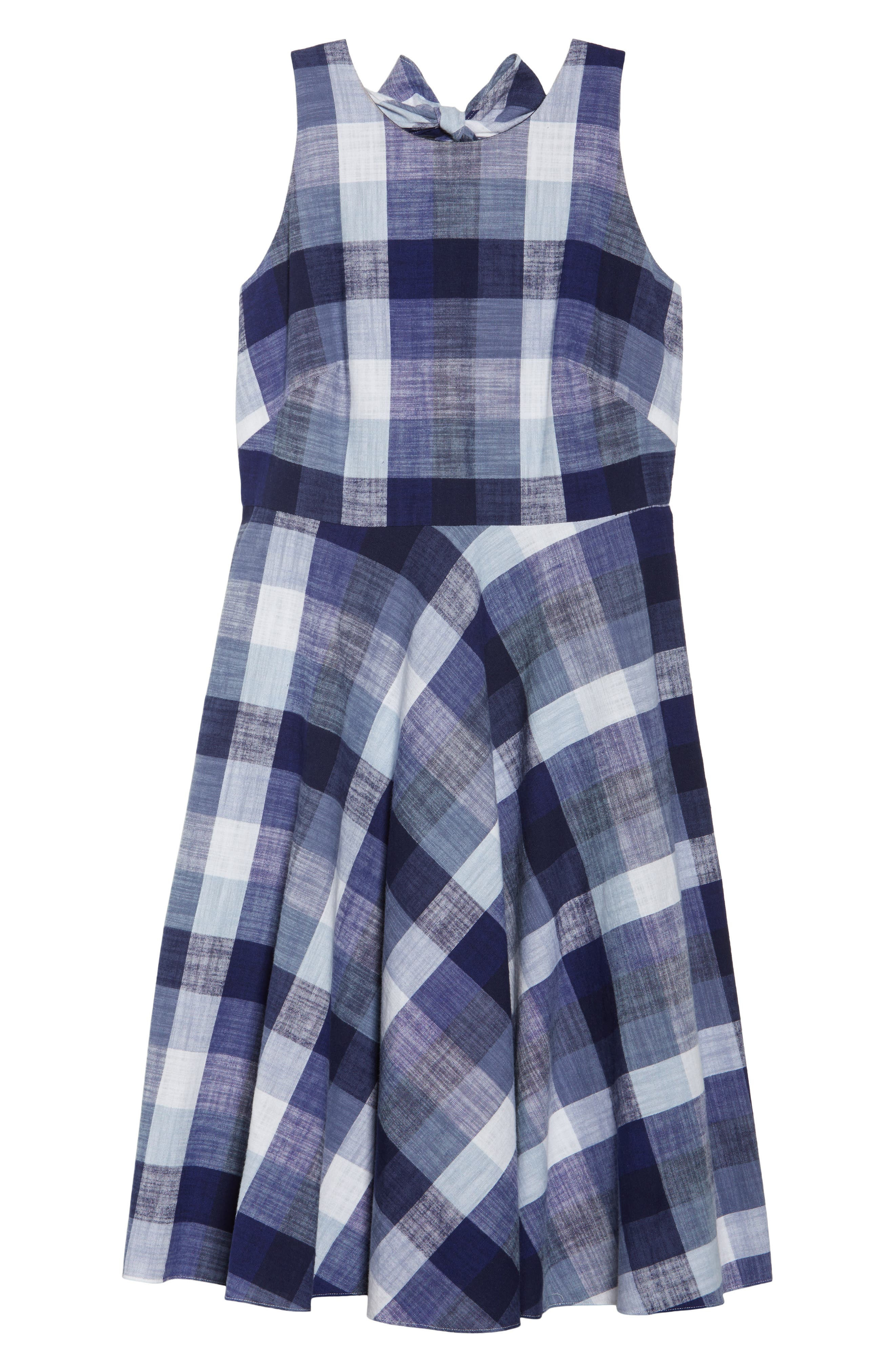 Check Fit & Flare Dress,                             Alternate thumbnail 6, color,                             Navy