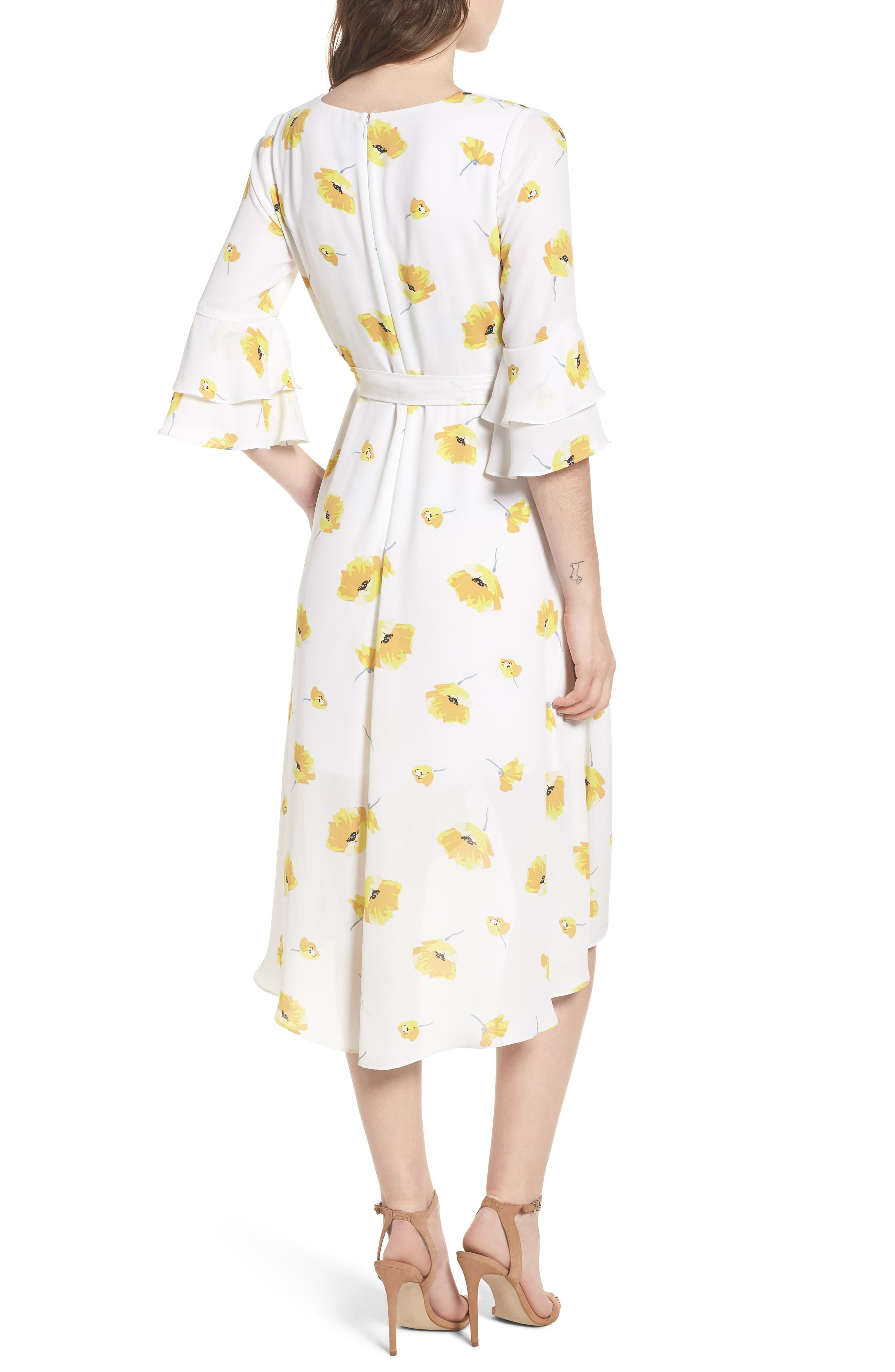 Floral Faux Wrap Dress,                             Alternate thumbnail 2, color,                             Ivory Gold Floral Print