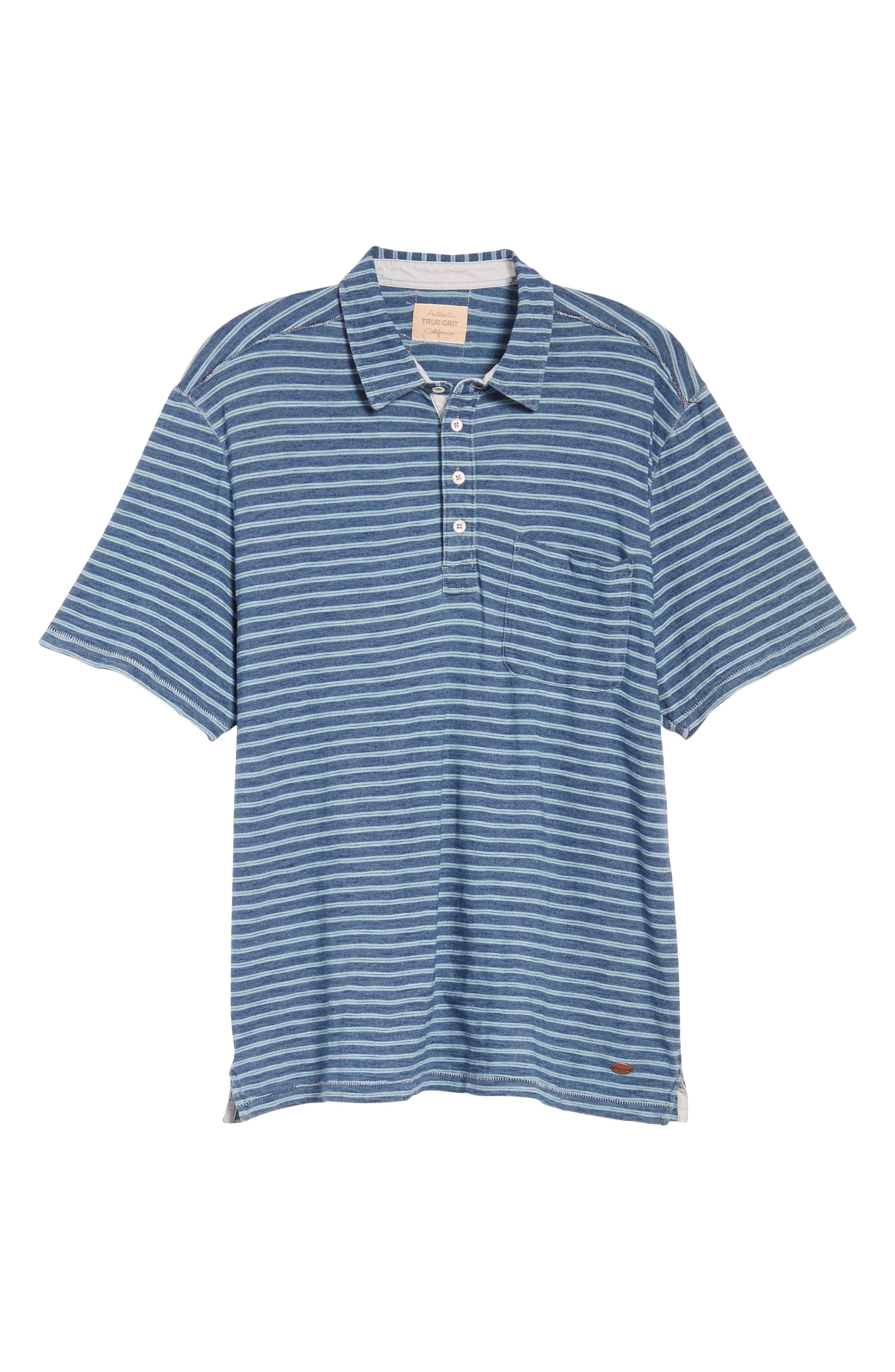Stripe Jersey Polo,                             Alternate thumbnail 6, color,                             Indigo