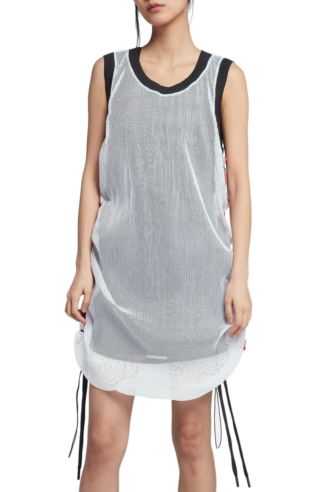 NikeLab x RT Mesh Jersey Dress,                             Alternate thumbnail 5, color,                             White