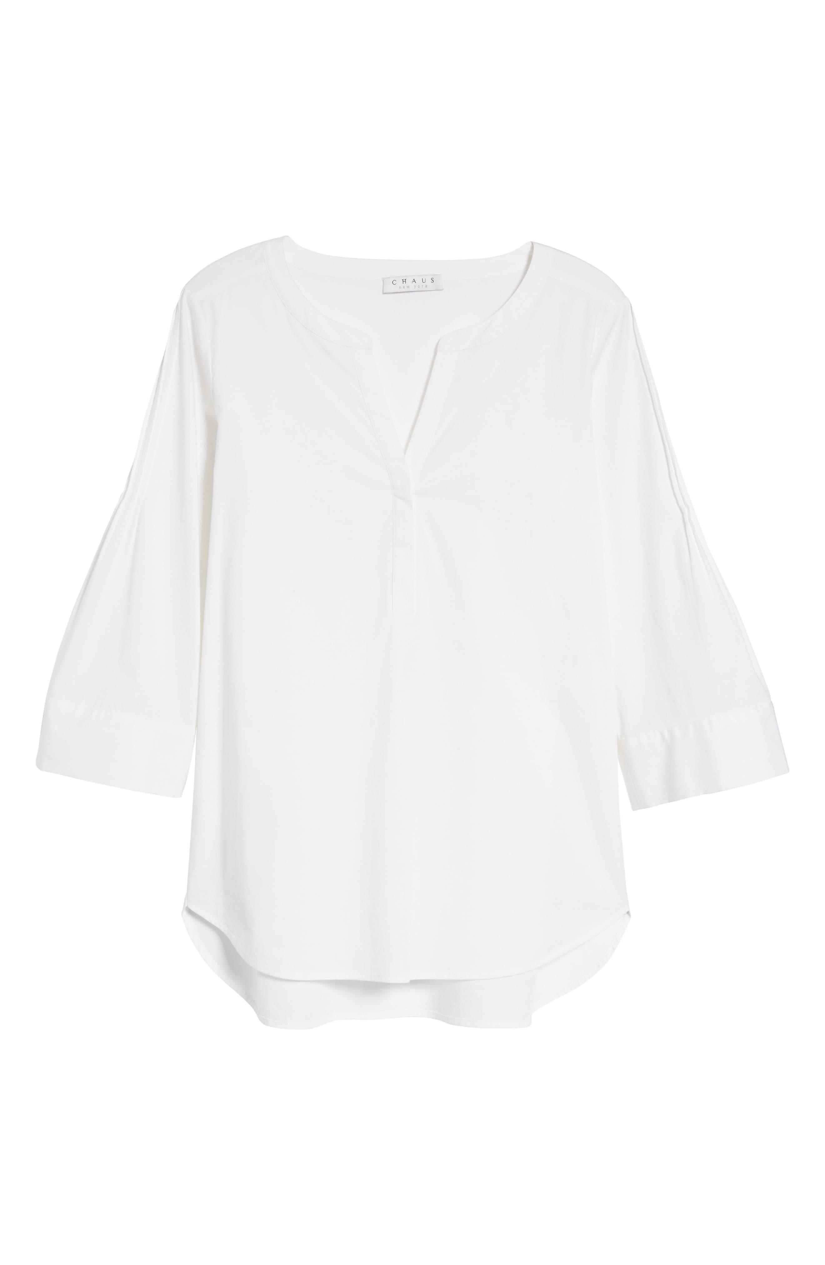 Split Neck Stretch Cotton Blouse,                             Alternate thumbnail 7, color,                             145-Ultra White