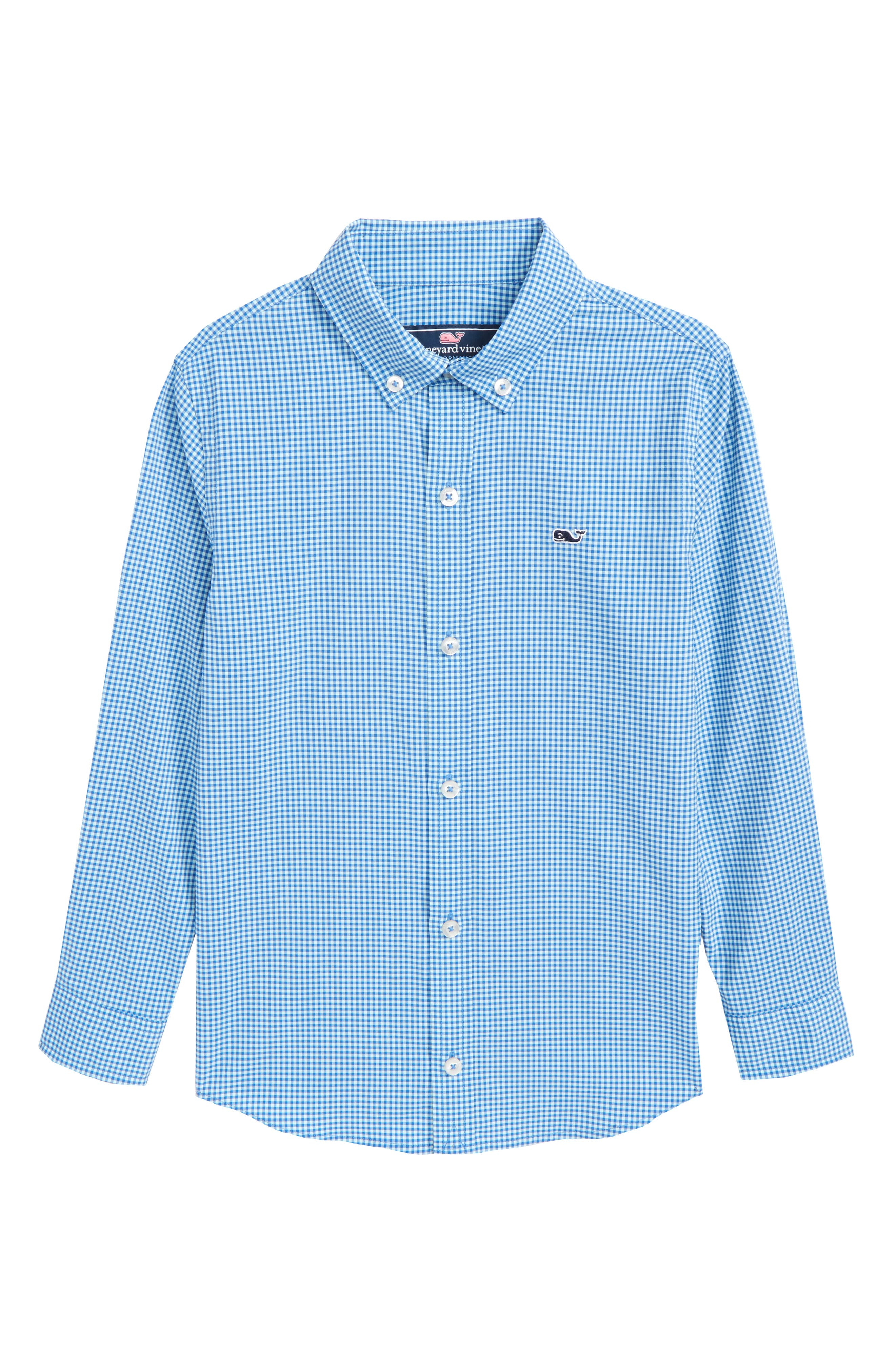 Marina Gingham Check Whale Shirt,                             Main thumbnail 1, color,                             Clearwater
