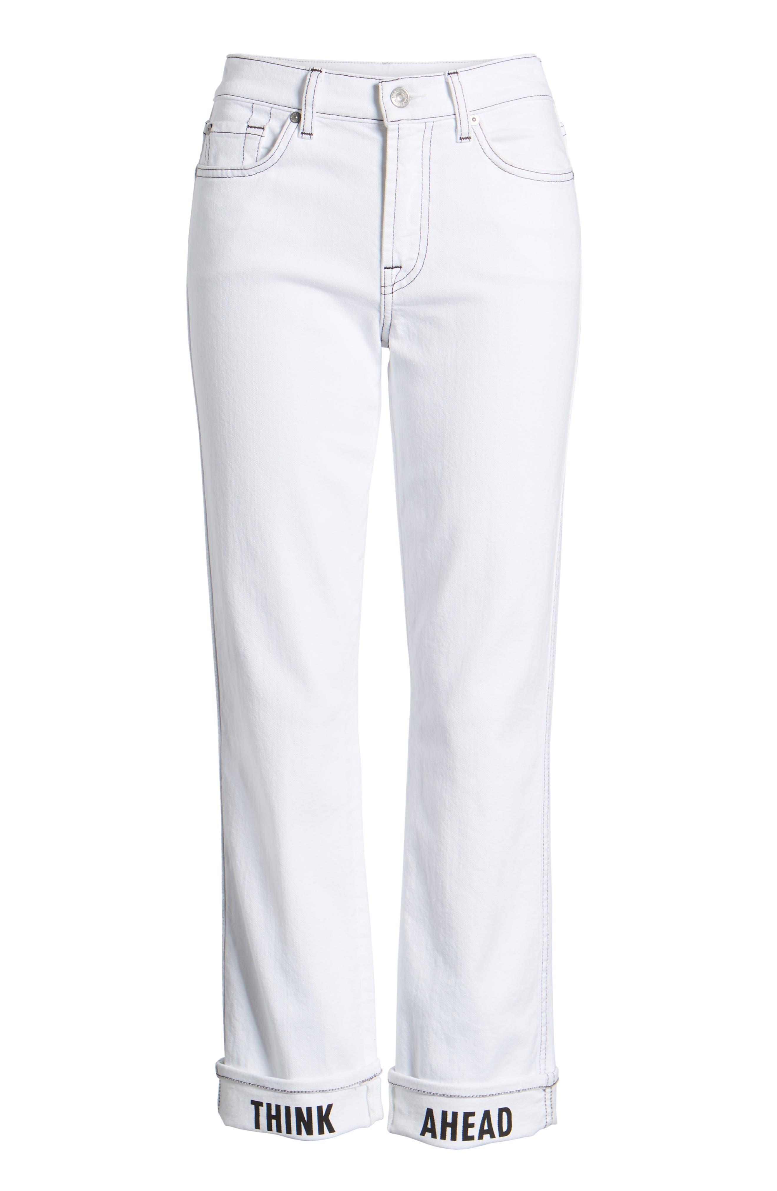 Dylan Print Cuff Straight Leg Jeans,                             Alternate thumbnail 7, color,                             White Fashion W/ Black Print