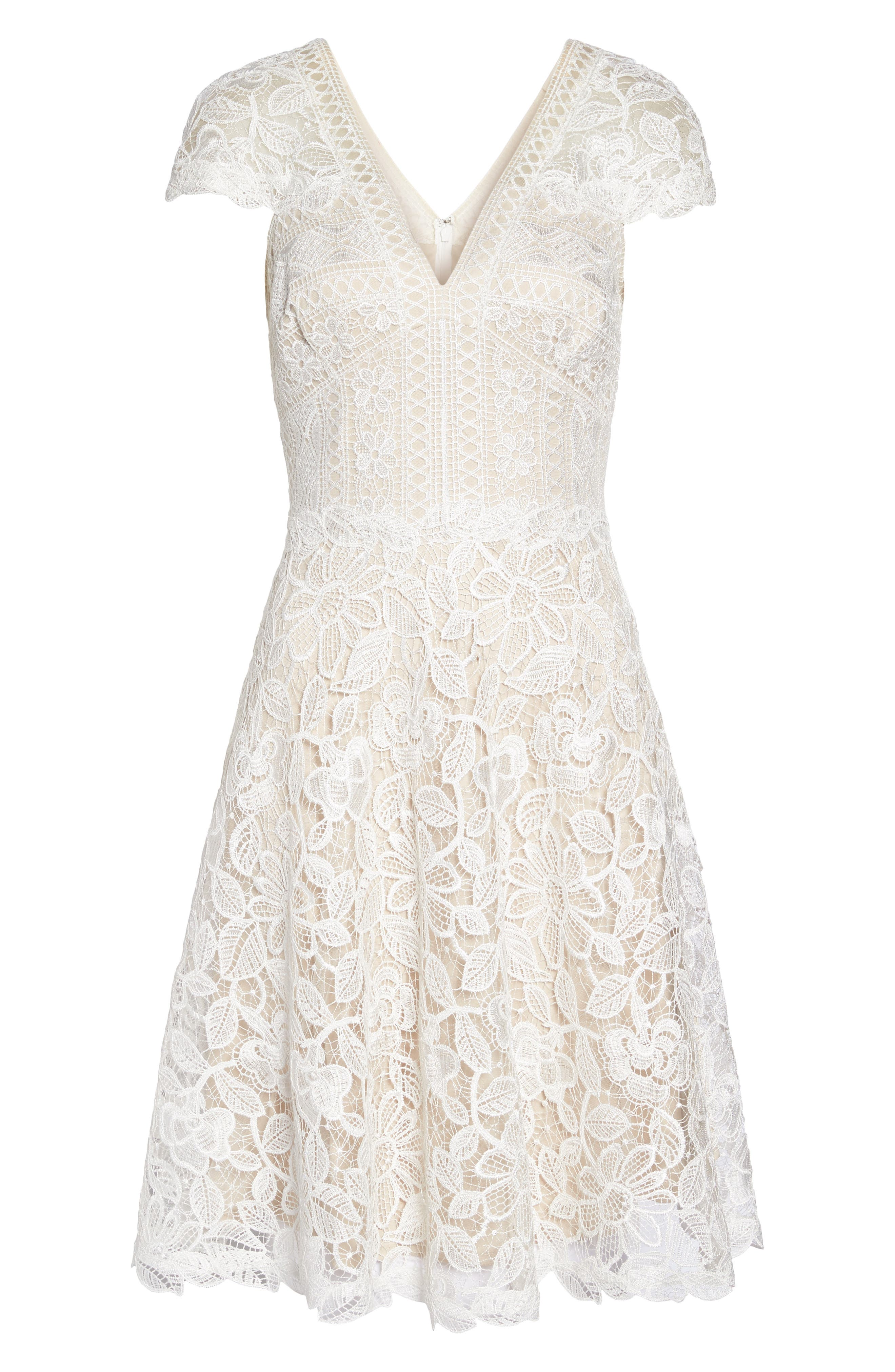 Mixed Lace Fit & Flare Dress,                             Alternate thumbnail 6, color,                             White/ Natural