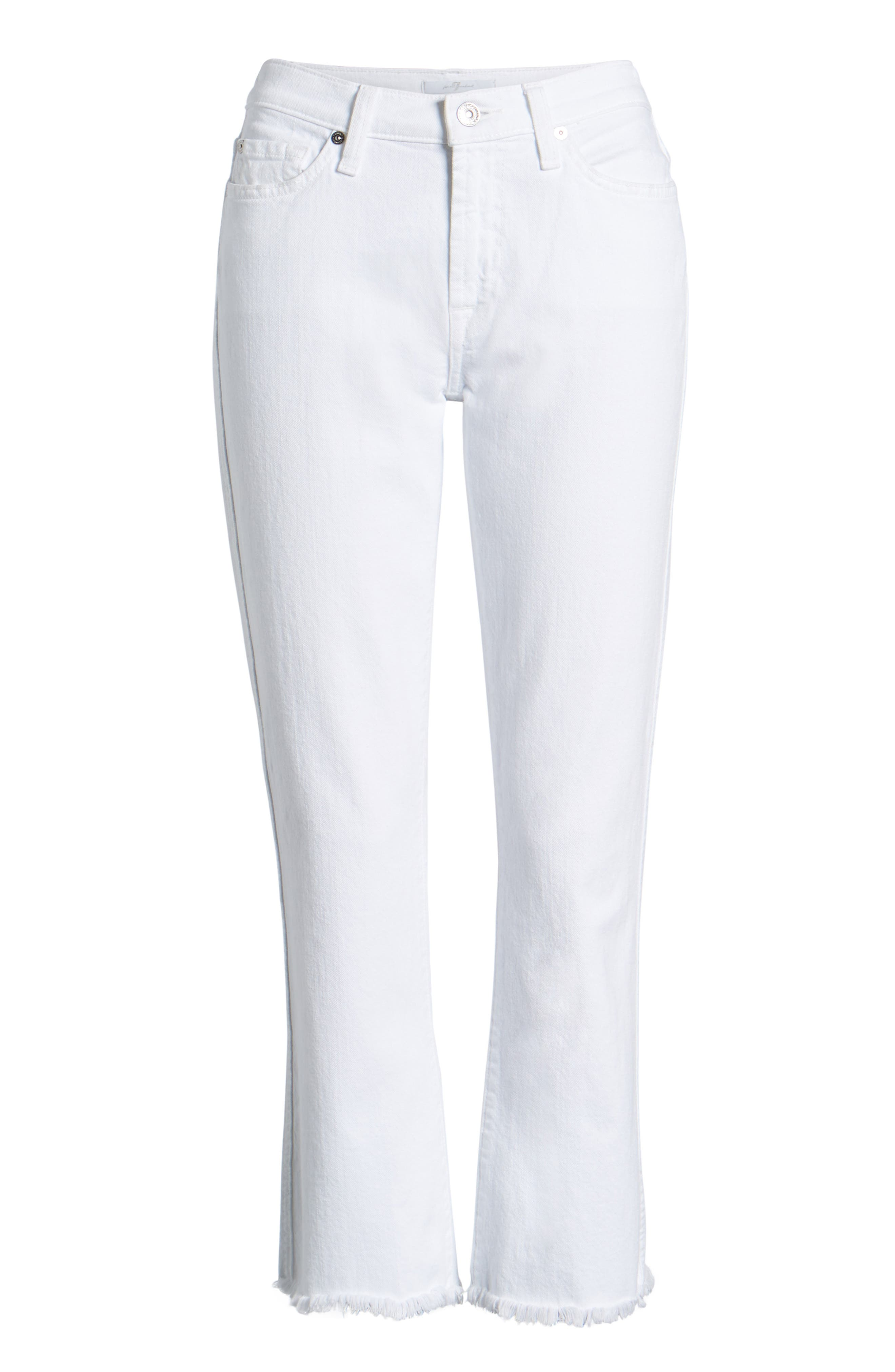 Frayed Crop Bootcut Jeans,                             Alternate thumbnail 7, color,                             White Fashion
