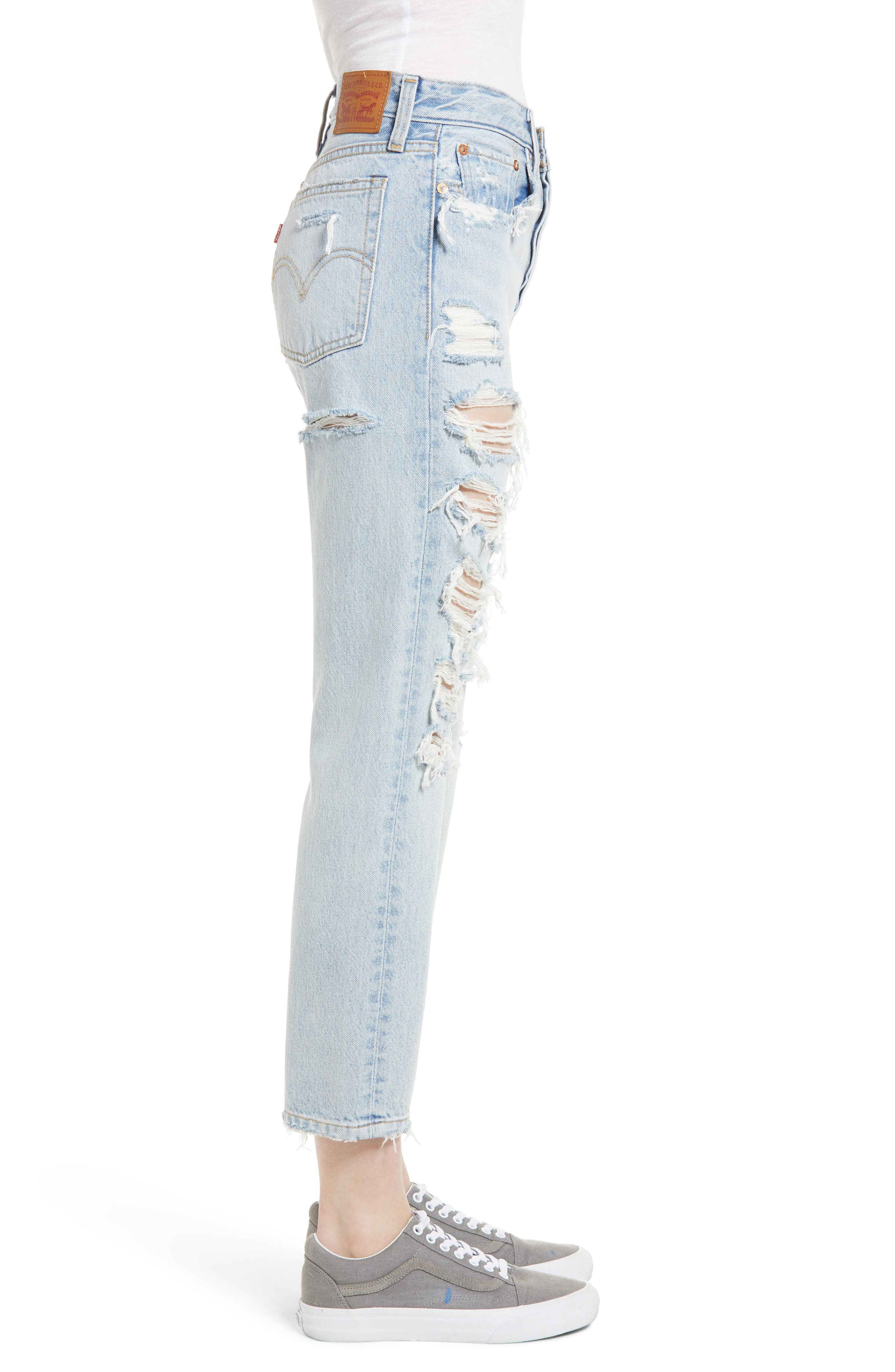 Wedgie High Waist Ripped Straight Jeans,                             Alternate thumbnail 3, color,                             Light Blue 1