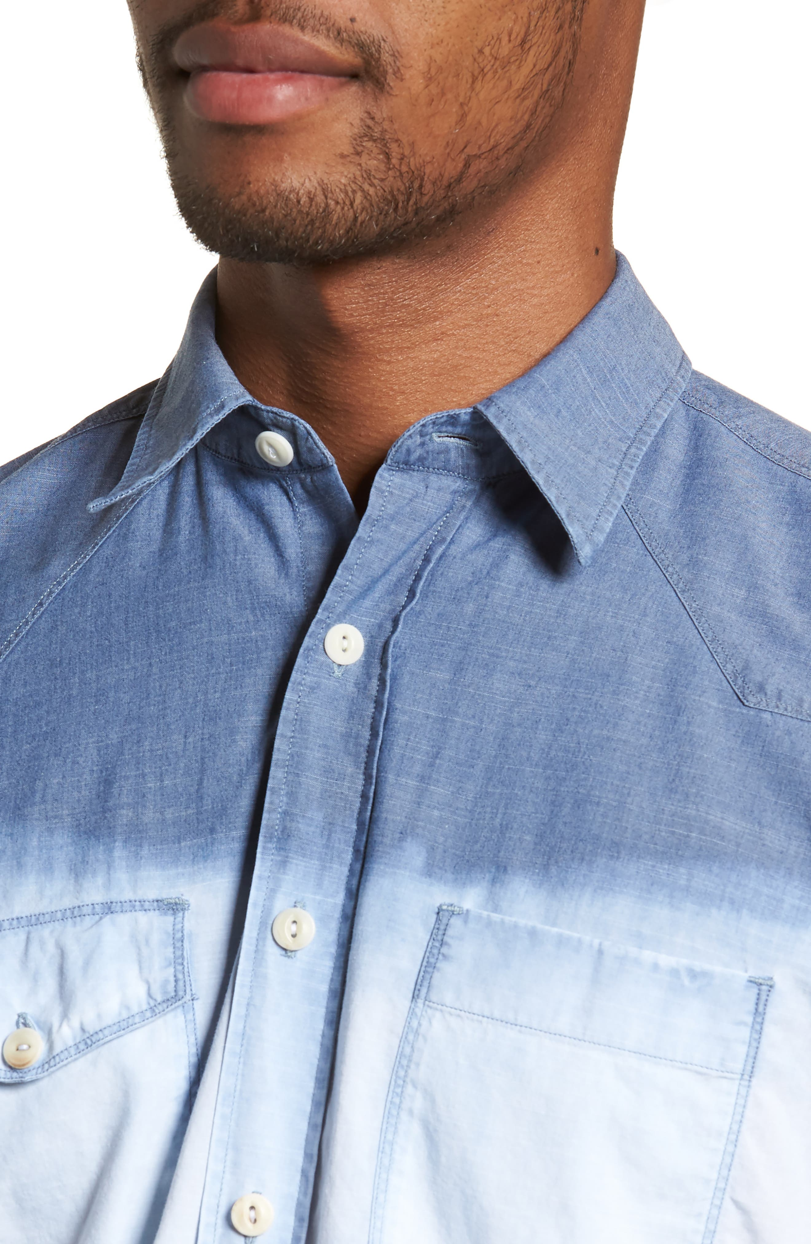 Tailored Fit Dégradé Sport Shirt,                             Alternate thumbnail 4, color,                             Blue