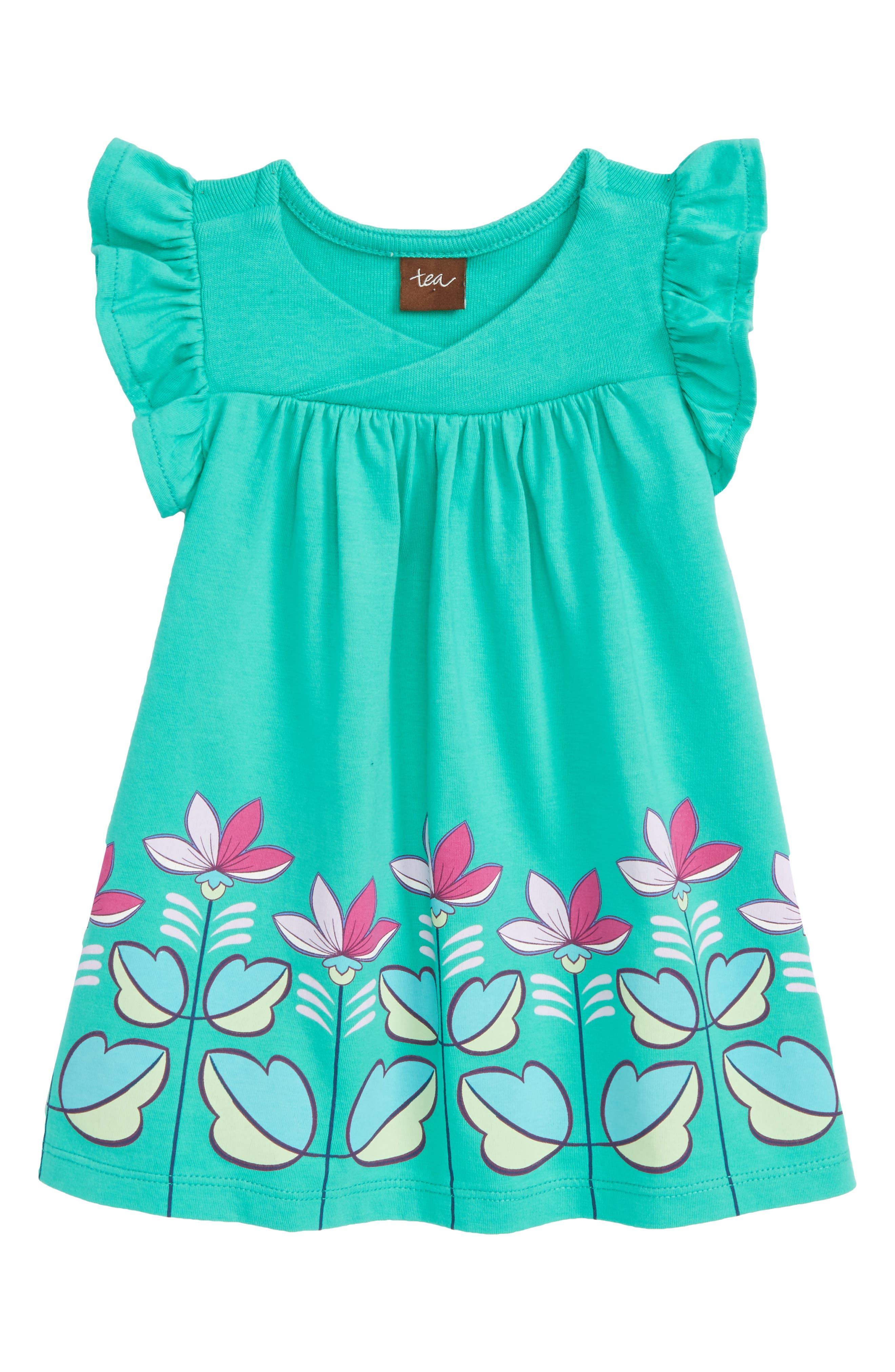 Flower Print Wrap Neck Knit Dress,                         Main,                         color, Green Pop