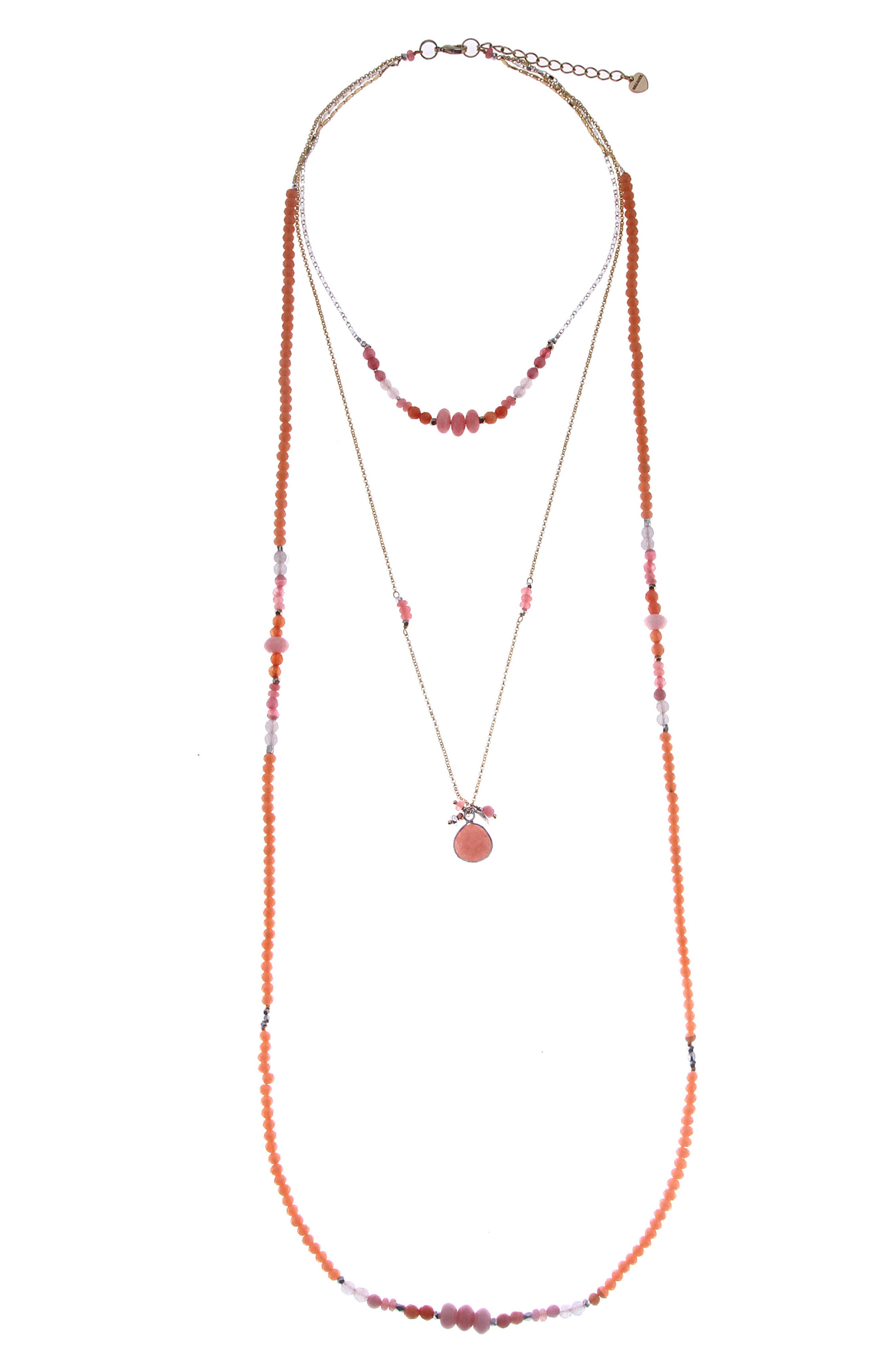 Layered Crystal & Drusy Necklace,                         Main,                         color, Peach