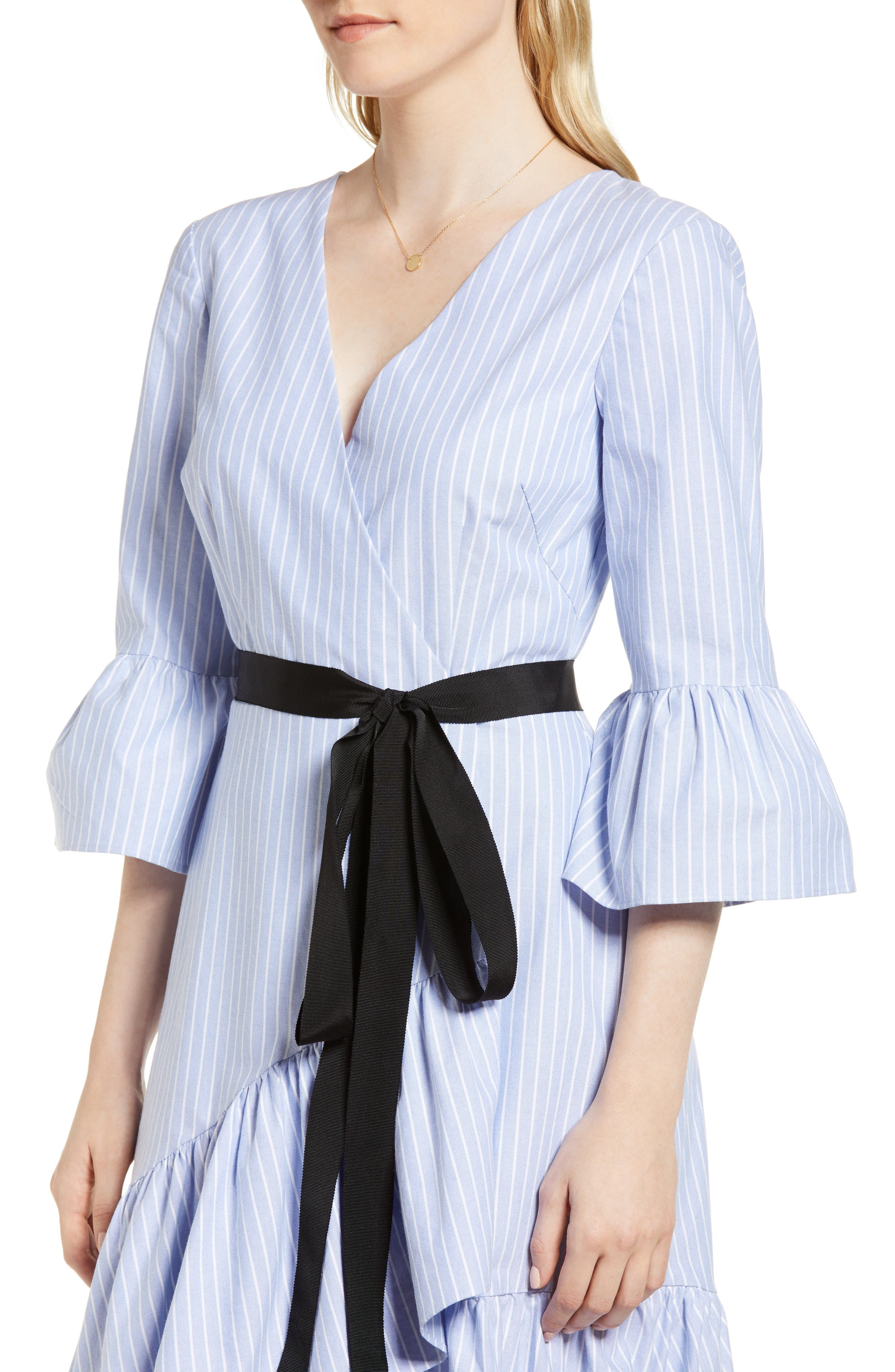 Ruffle Hem Faux Wrap Dress,                             Alternate thumbnail 4, color,                             Blue- White Stripe