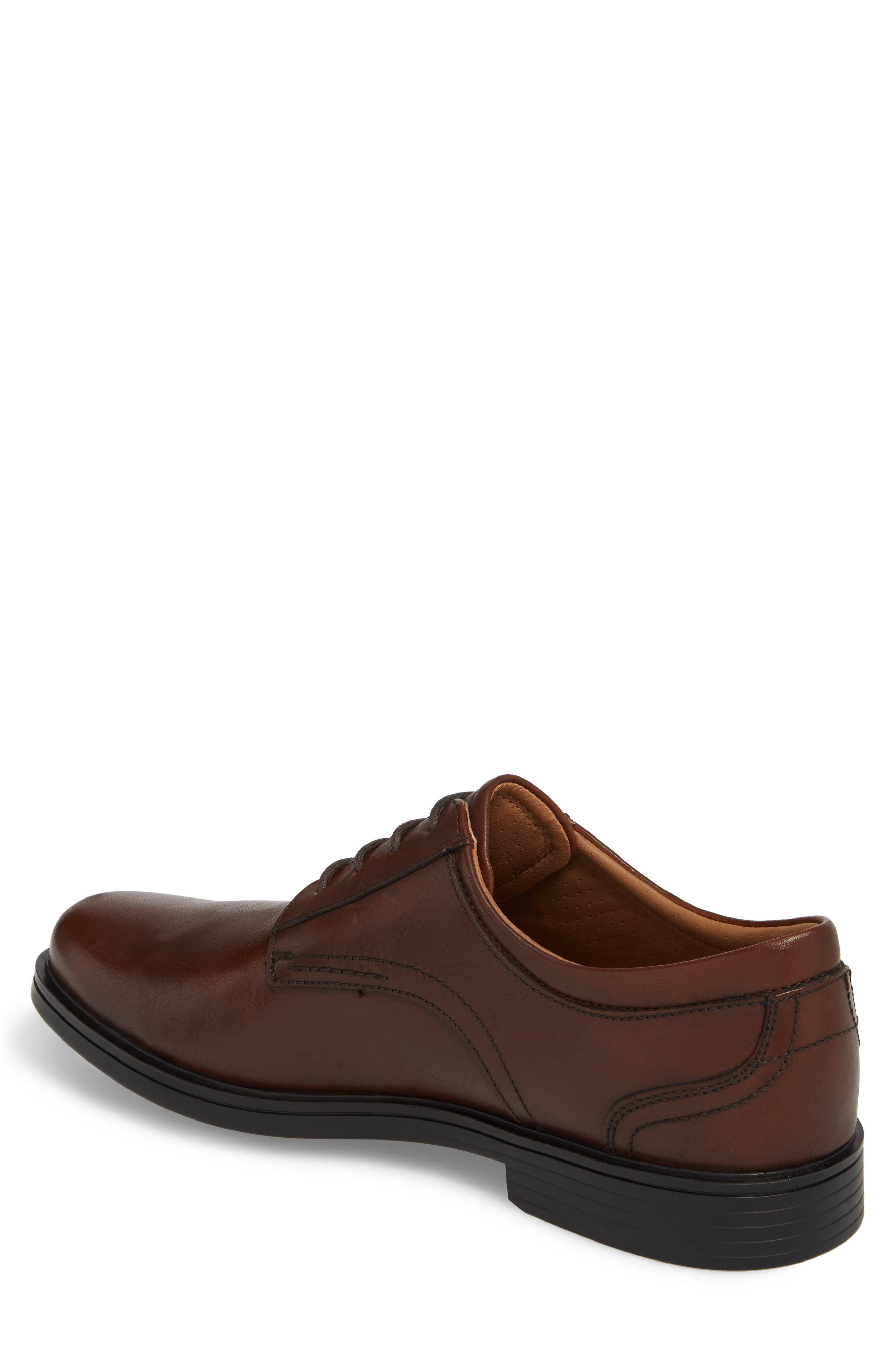 Unaldric Plain Toe Derby,                             Alternate thumbnail 2, color,                             Dark Tan Leather