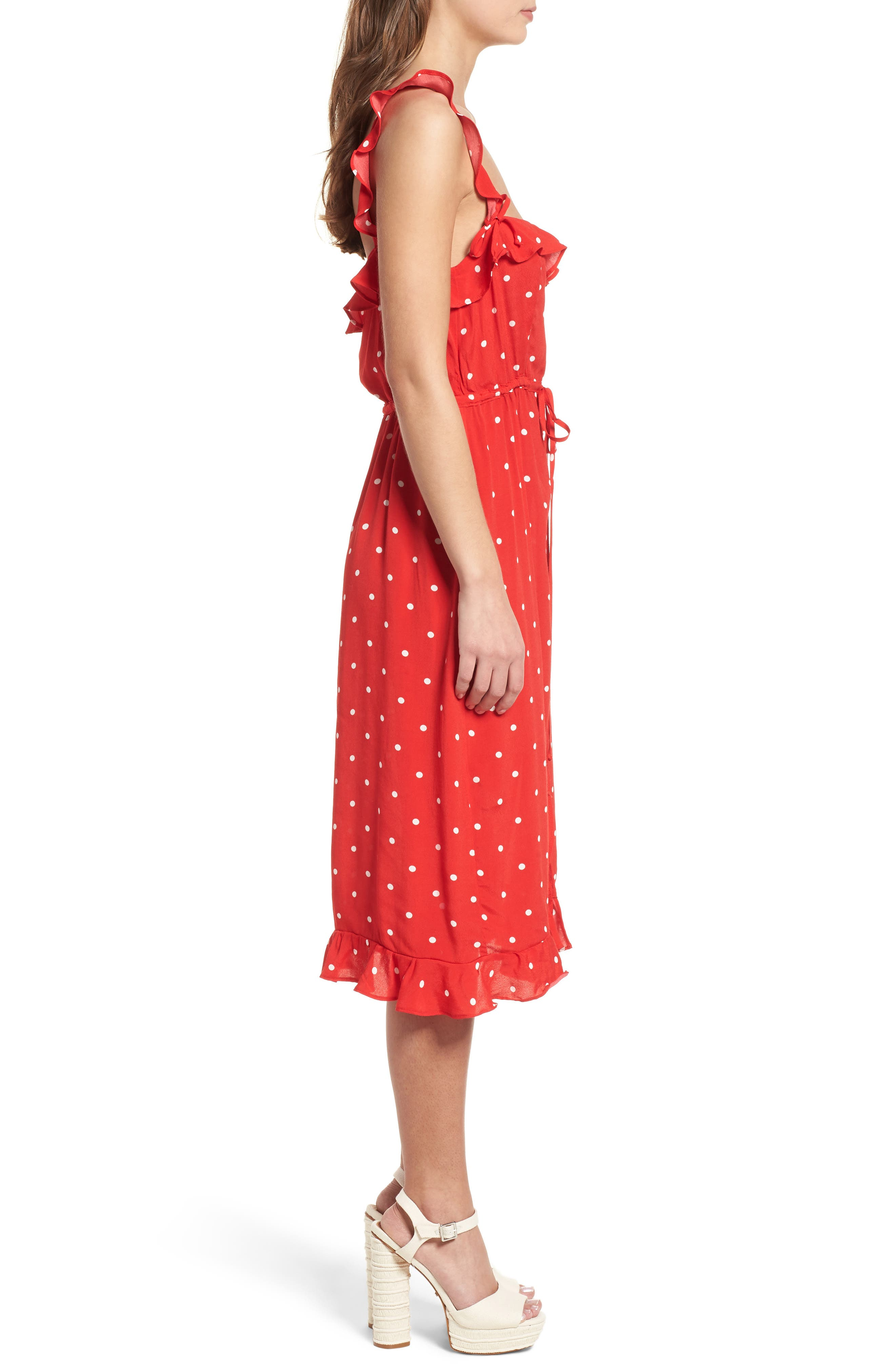 Natalia Midi Dress,                             Alternate thumbnail 3, color,                             Red Dot