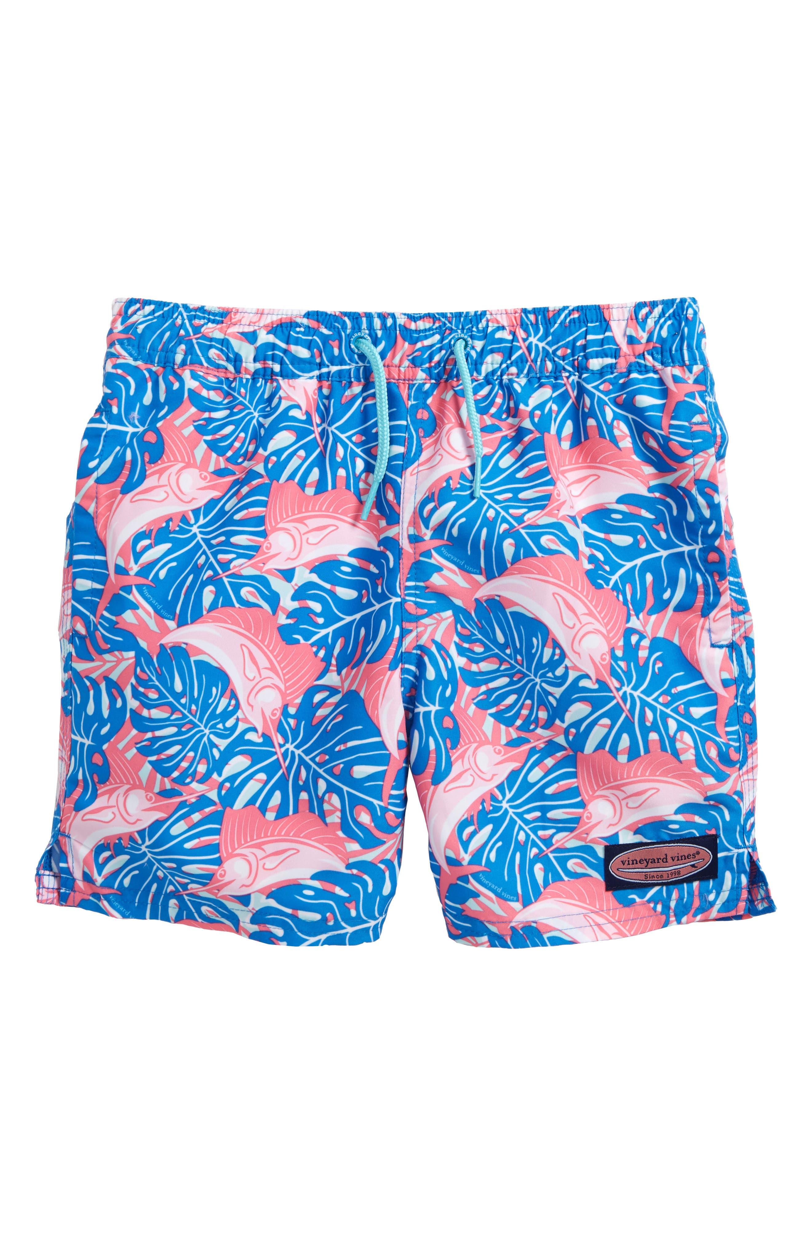 Chappy Sailfish & Leaves Swim Trunks,                             Main thumbnail 1, color,                             Azure Blue