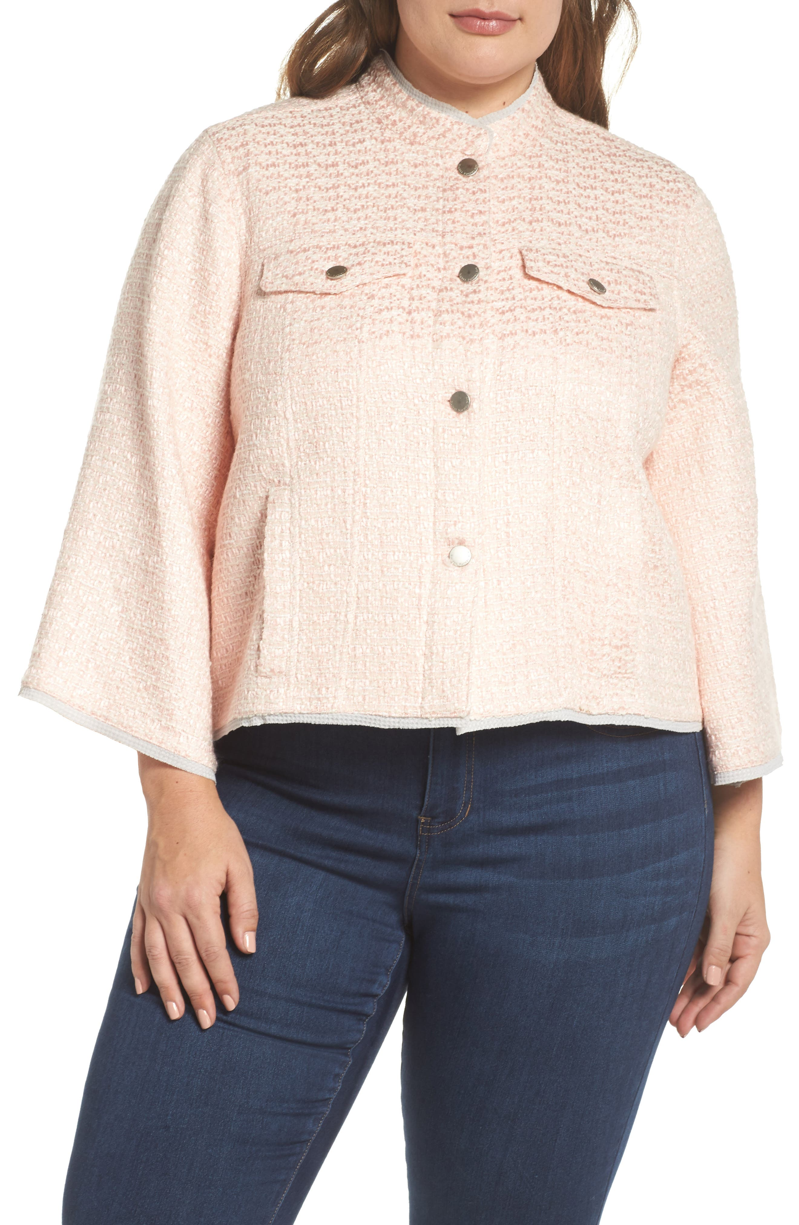Bell Sleeve Crop Tweed Jacket,                             Alternate thumbnail 4, color,                             Ice Pink Combo